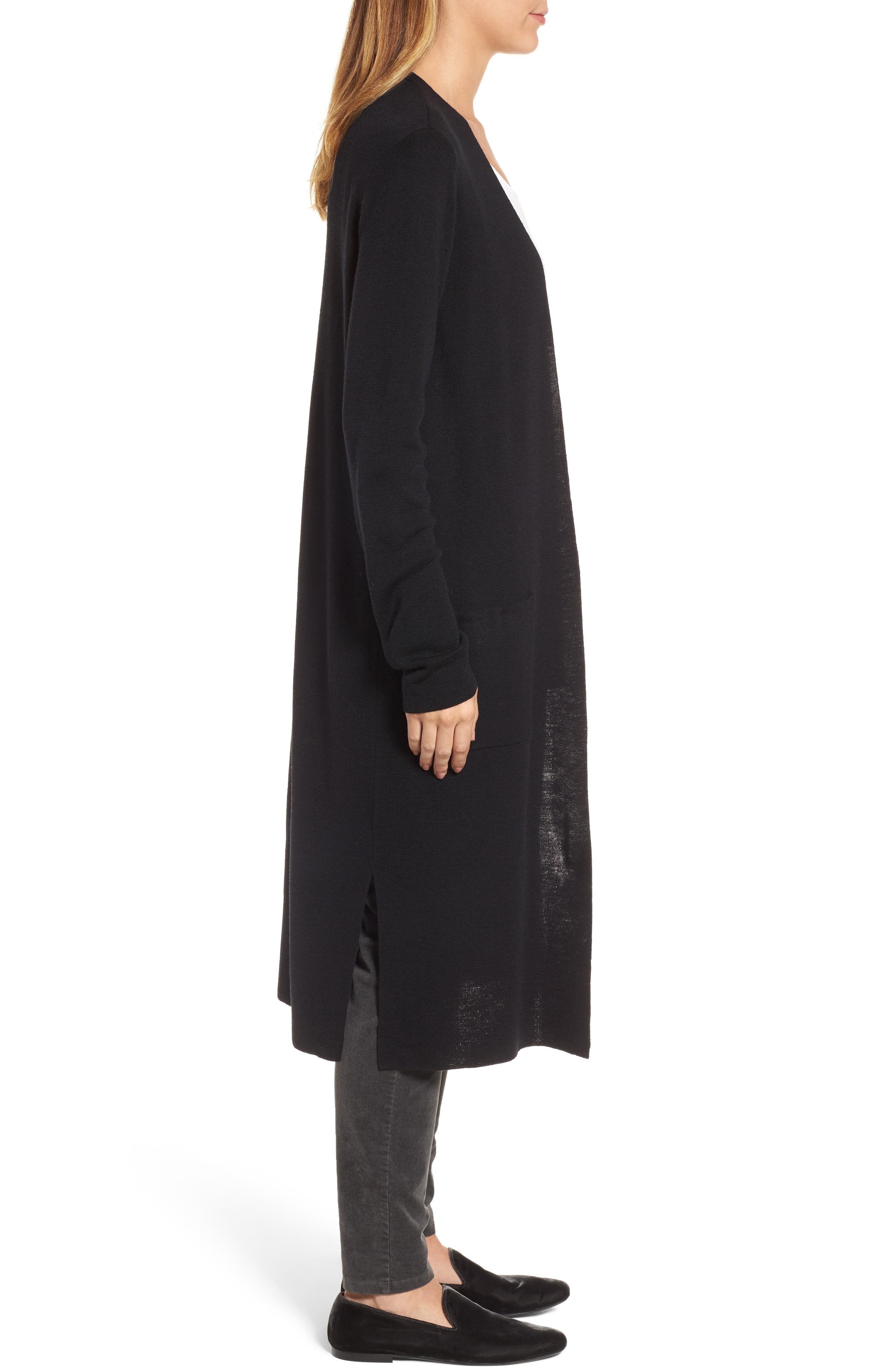 Long Merino Wool Cardigan,                             Alternate thumbnail 3, color,                             001