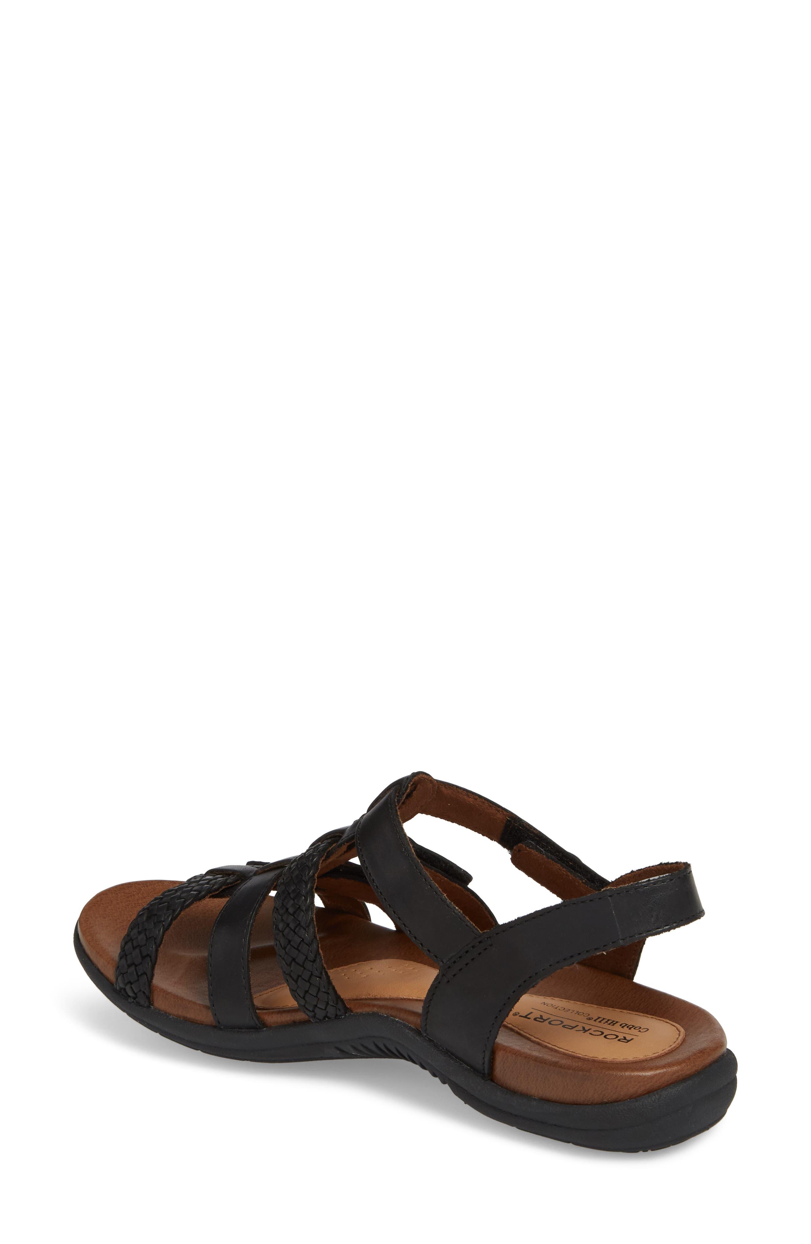 Rubey T-Strap Sandal,                             Alternate thumbnail 2, color,                             BLACK LEATHER