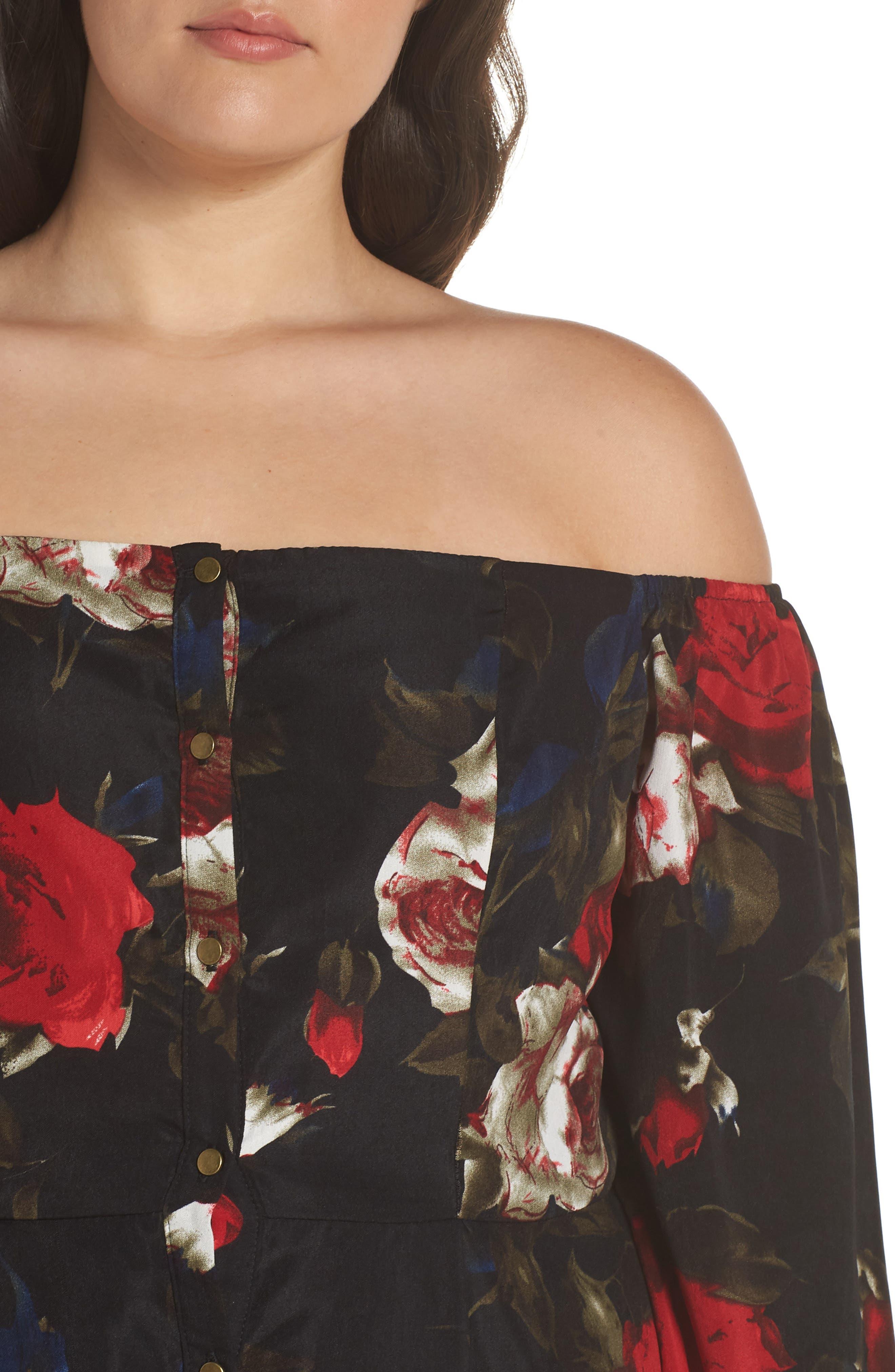 Off the Shoulder Midi Dress,                             Alternate thumbnail 11, color,                             BLACK LUSH ROSE FLORAL