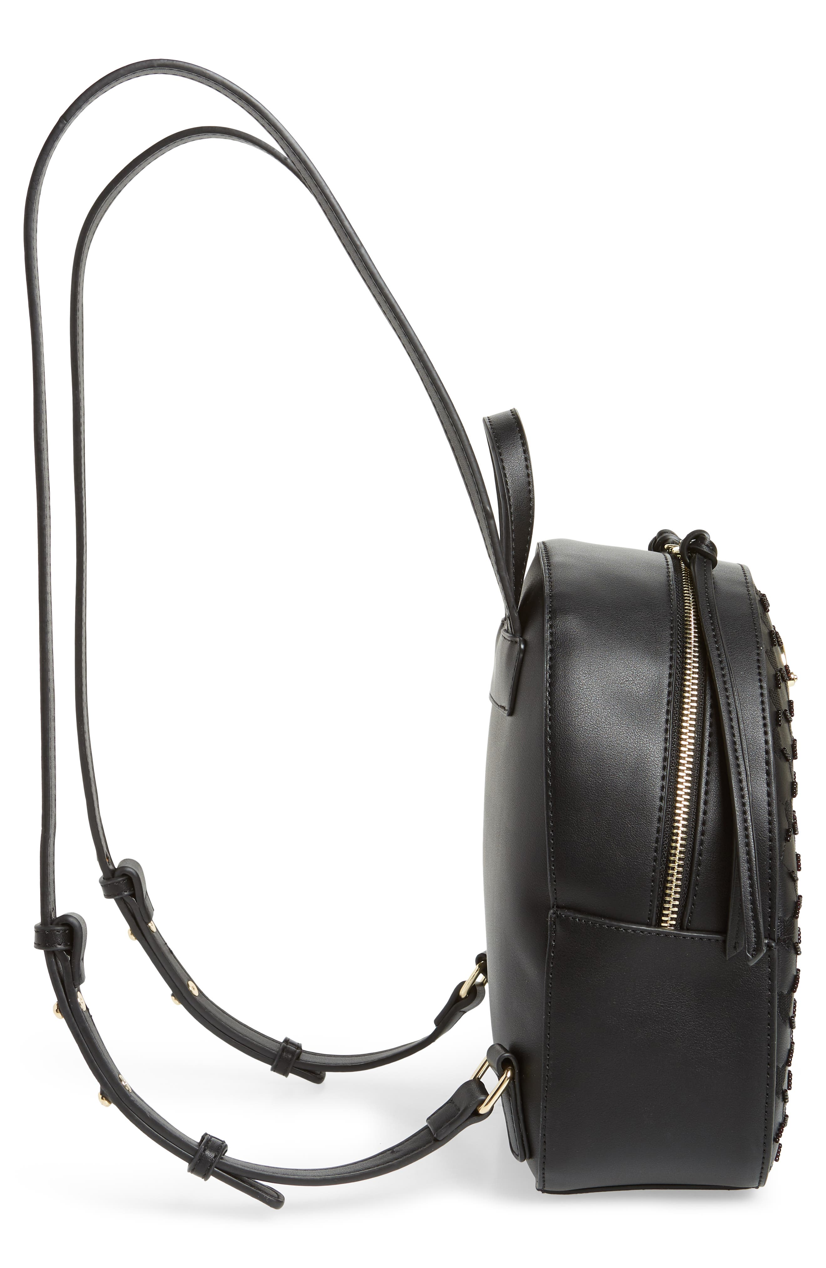 TOPSHOP,                             Sweetheart Beaded Backpack,                             Alternate thumbnail 5, color,                             001