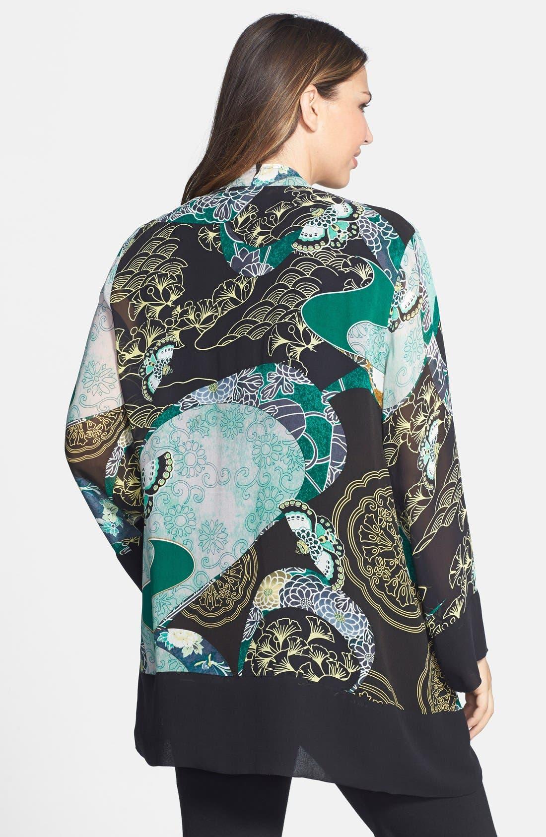 Print Silk Kimono Jacket,                             Alternate thumbnail 3, color,                             310