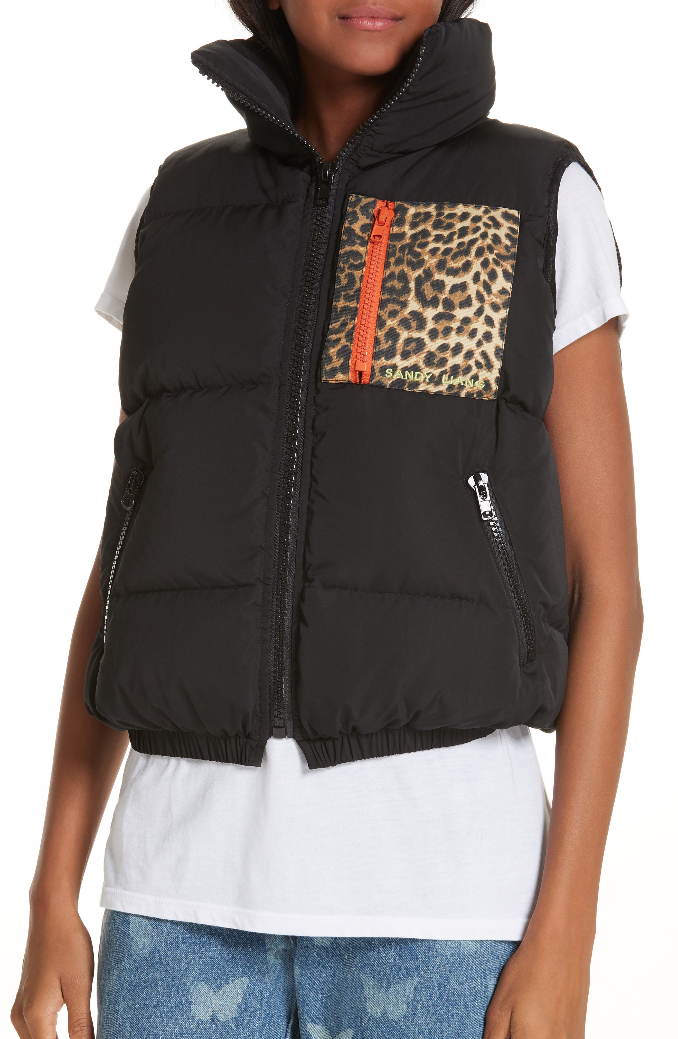 Primrose Down Puffer Vest,                             Alternate thumbnail 4, color,                             BLACK