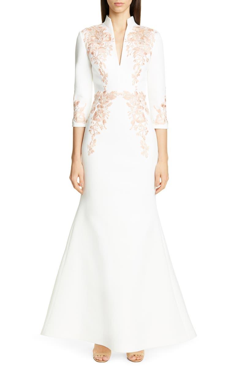 BADGLEY MISCHKA COLLECTION Floral Appliqué Scuba Evening Dress, Main, color, WHITE