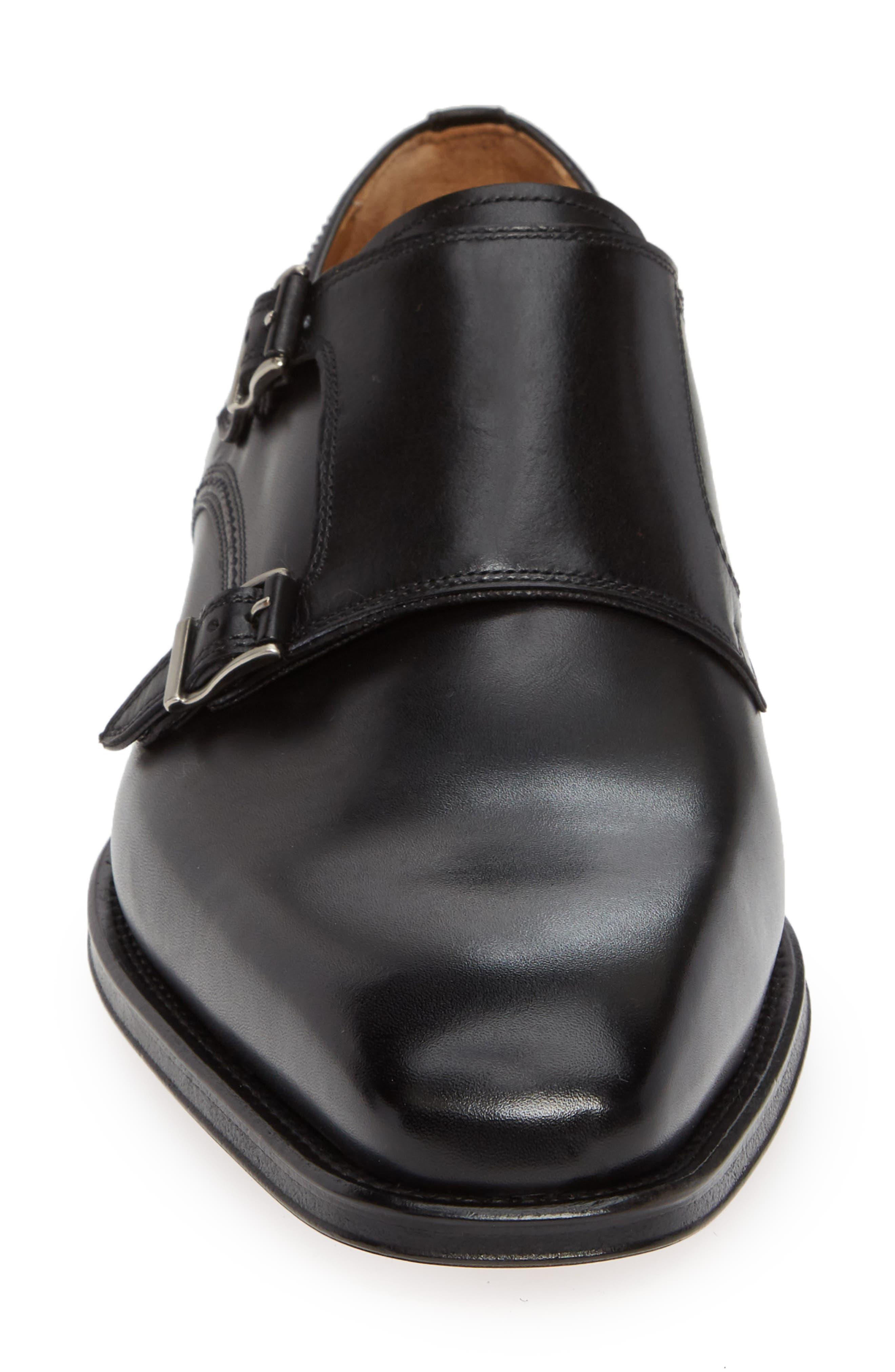 Landon Double Strap Monk Shoe,                             Alternate thumbnail 4, color,                             BLACK LEATHER