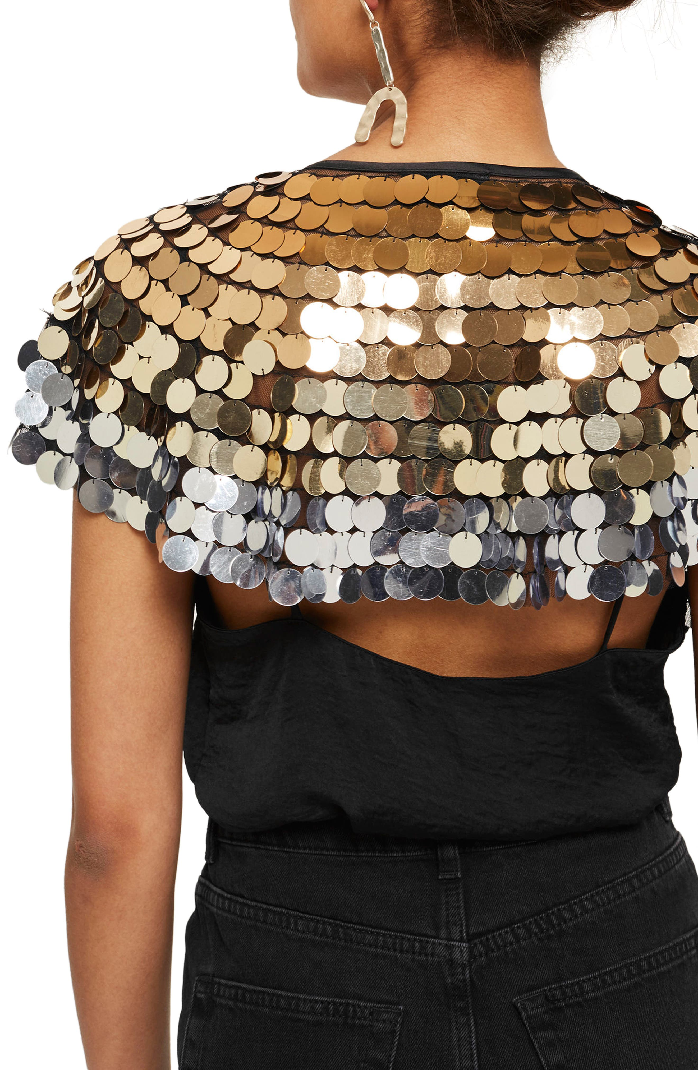 Angel Oversize Sequin Cape,                             Alternate thumbnail 2, color,                             710
