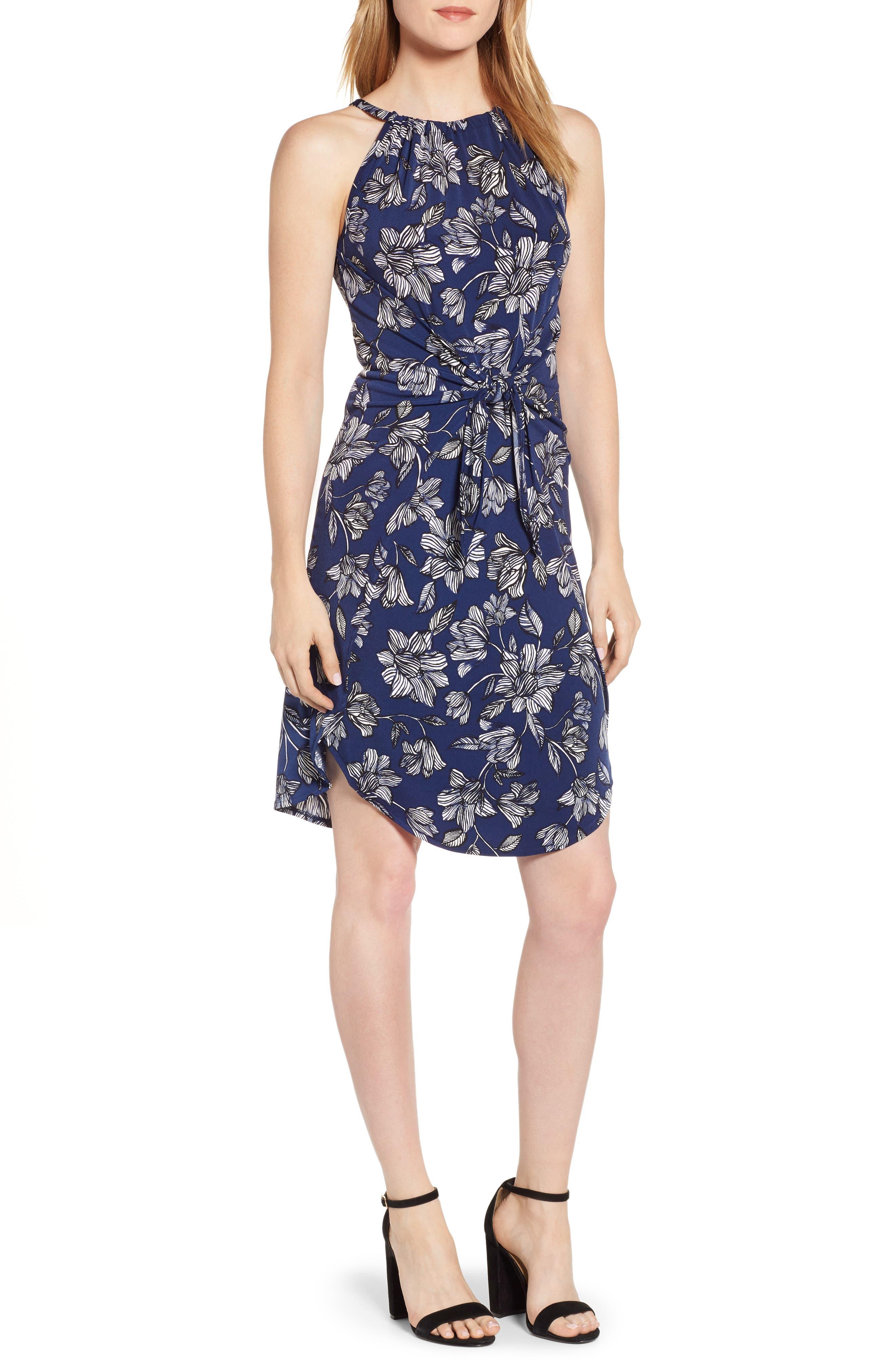 1.state Tidal Wave Tie Waist Dress, Blue