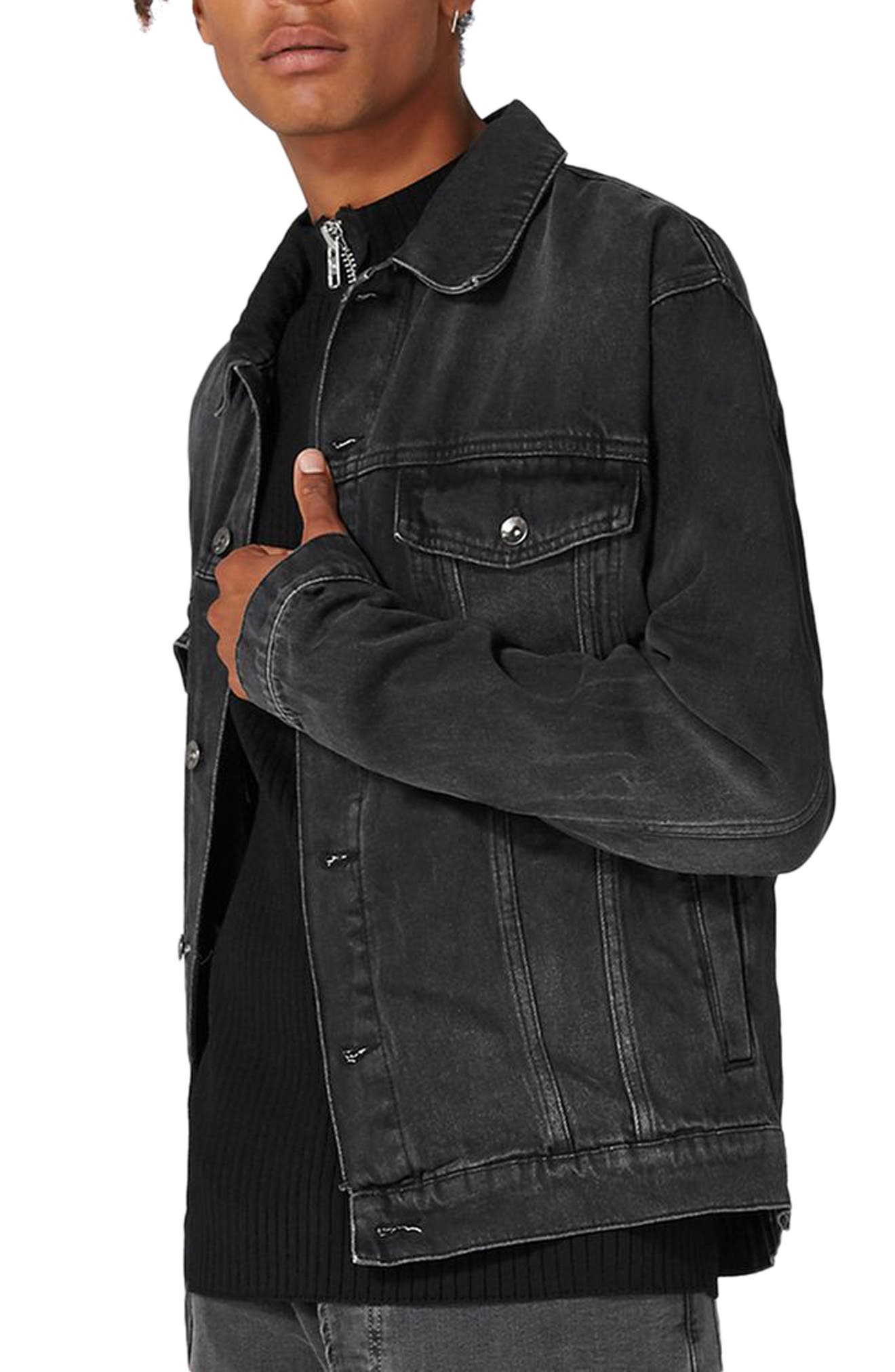 Oversize Black Denim Jacket,                             Main thumbnail 1, color,                             001