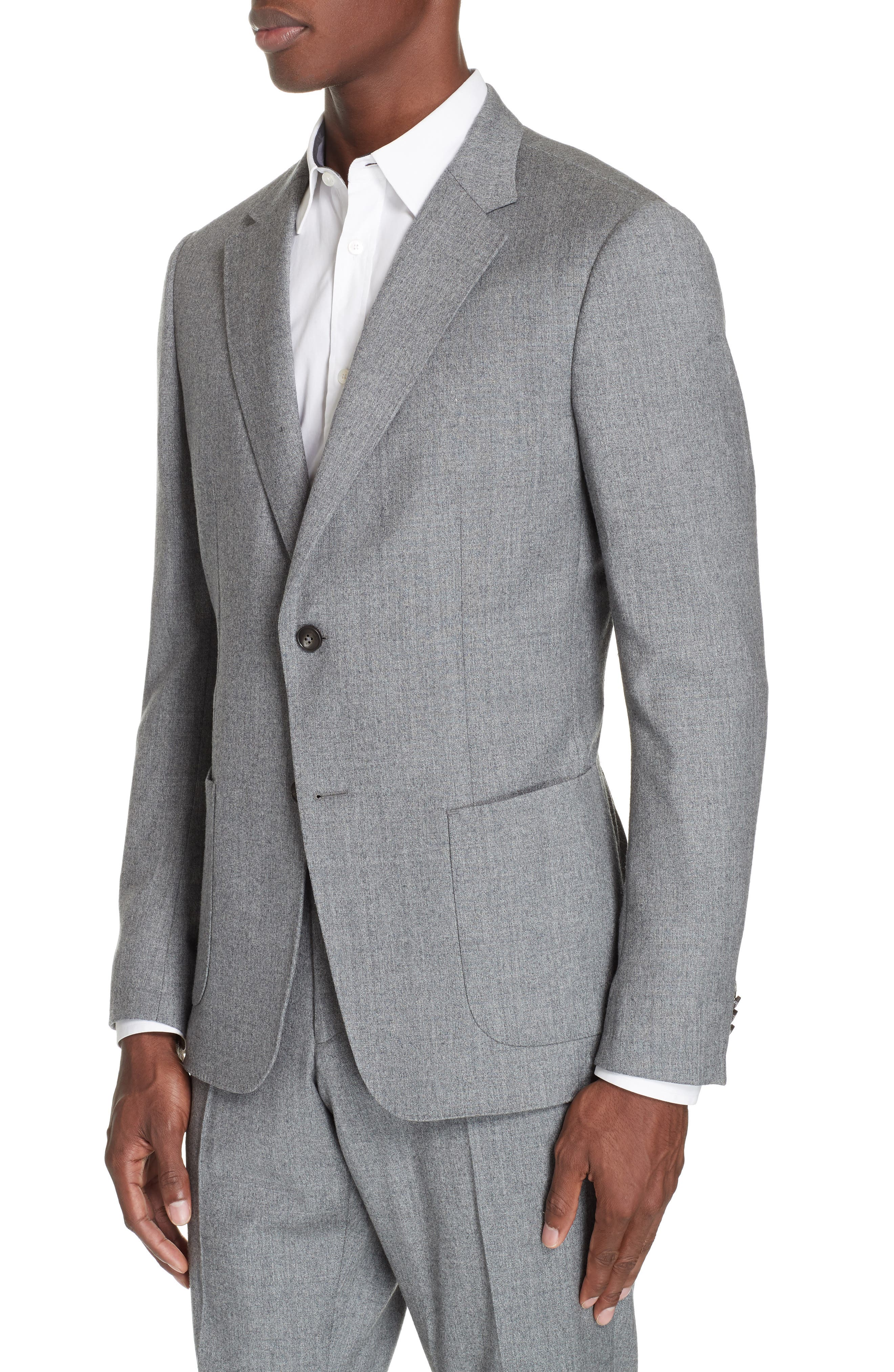 Wash and Go Trim Fit Solid Wool Suit,                             Alternate thumbnail 4, color,                             SILVER