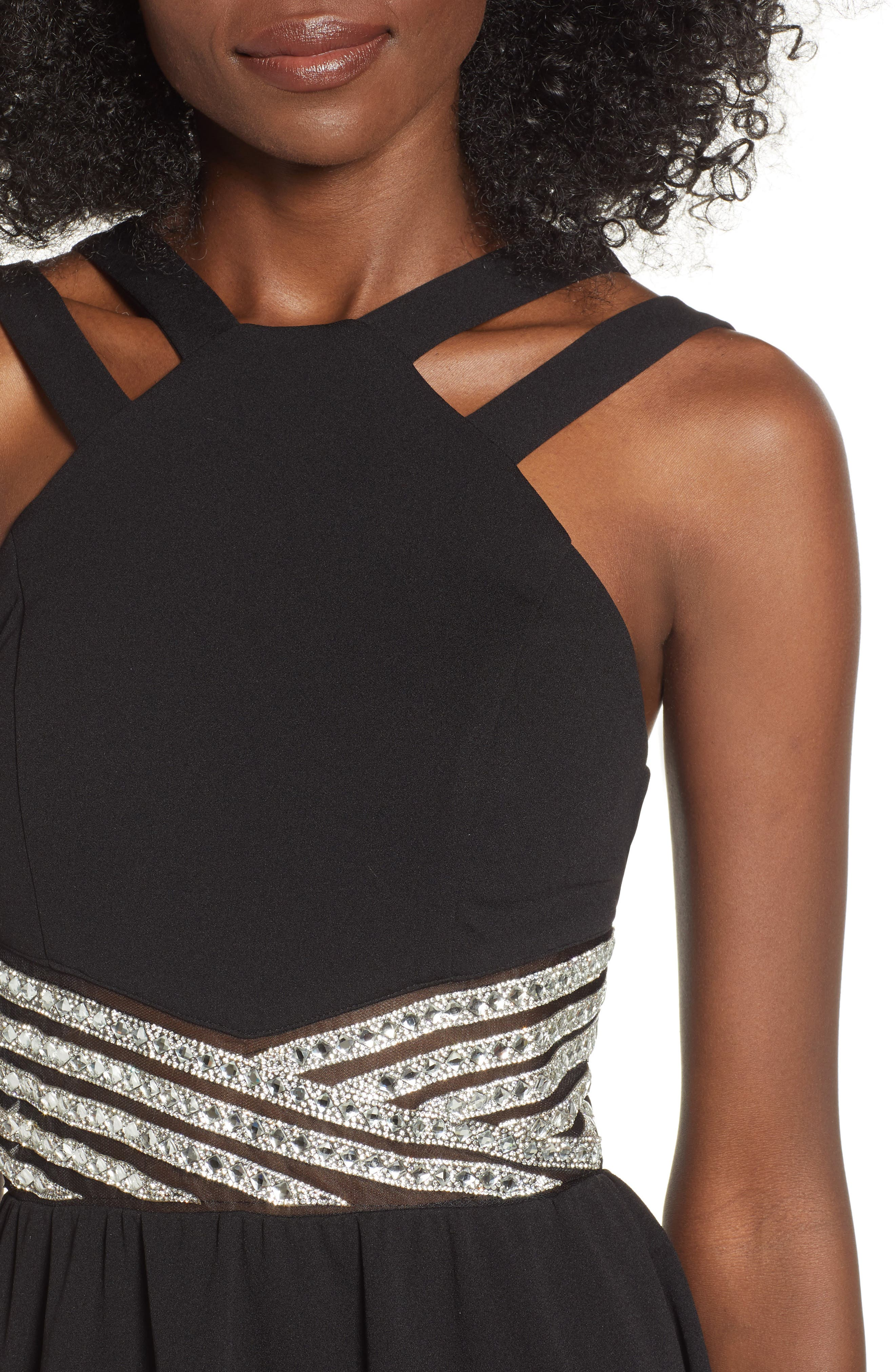LOVE, NICKIE LEW,                             High/Low Jeweled Waist Dress,                             Alternate thumbnail 4, color,                             001