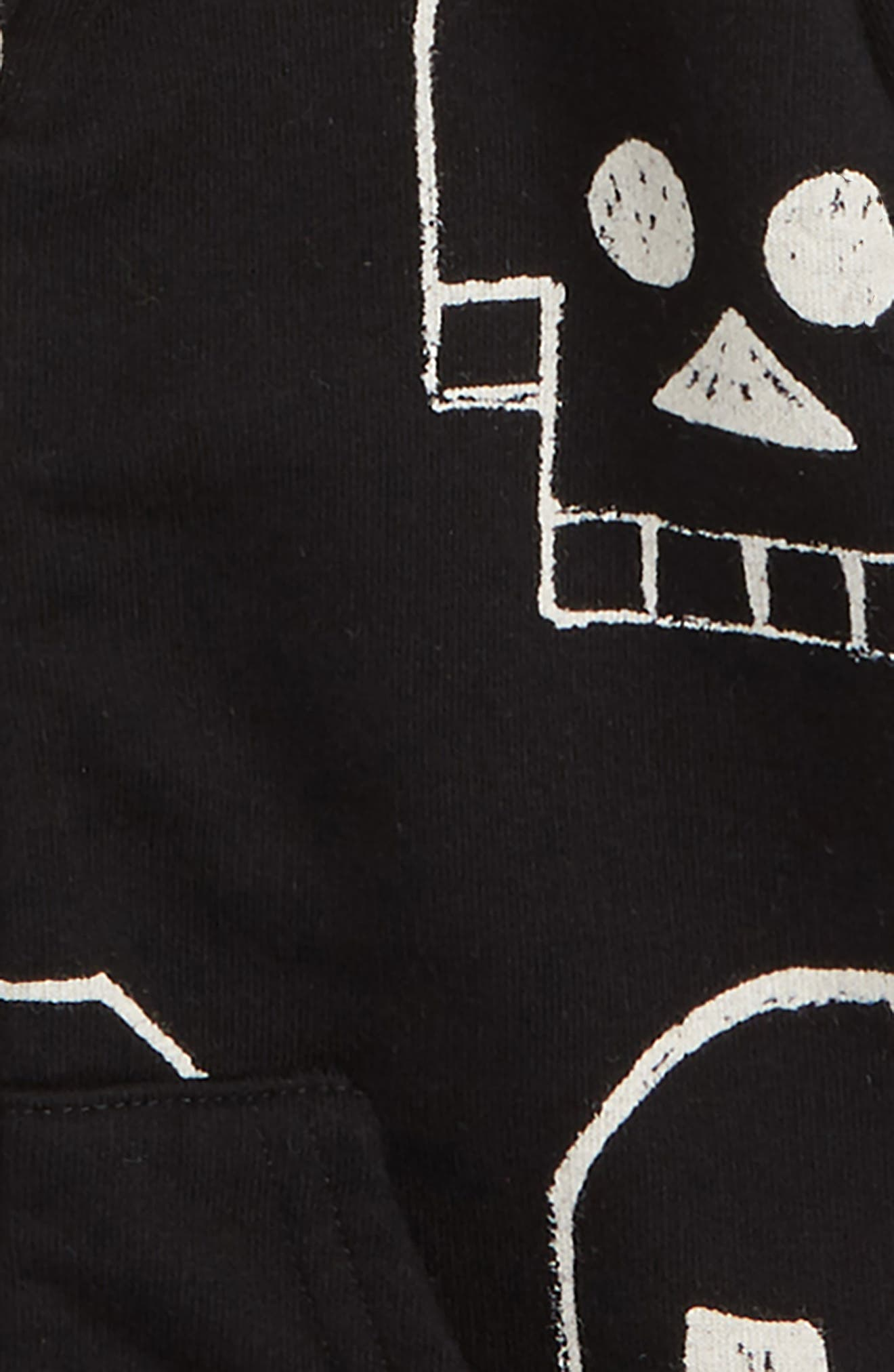 Skull Robot Zip Hoodie,                             Alternate thumbnail 2, color,                             BLACK