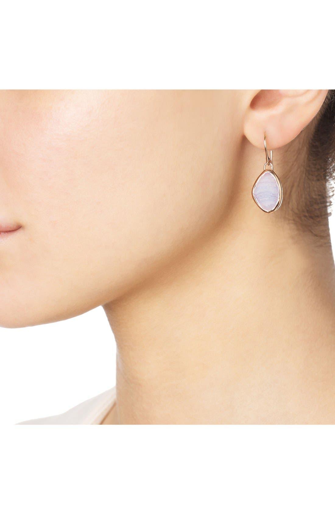 'Siren' Teardrop Earrings,                             Alternate thumbnail 2, color,                             BLUE LACE AGATE/ ROSE GOLD