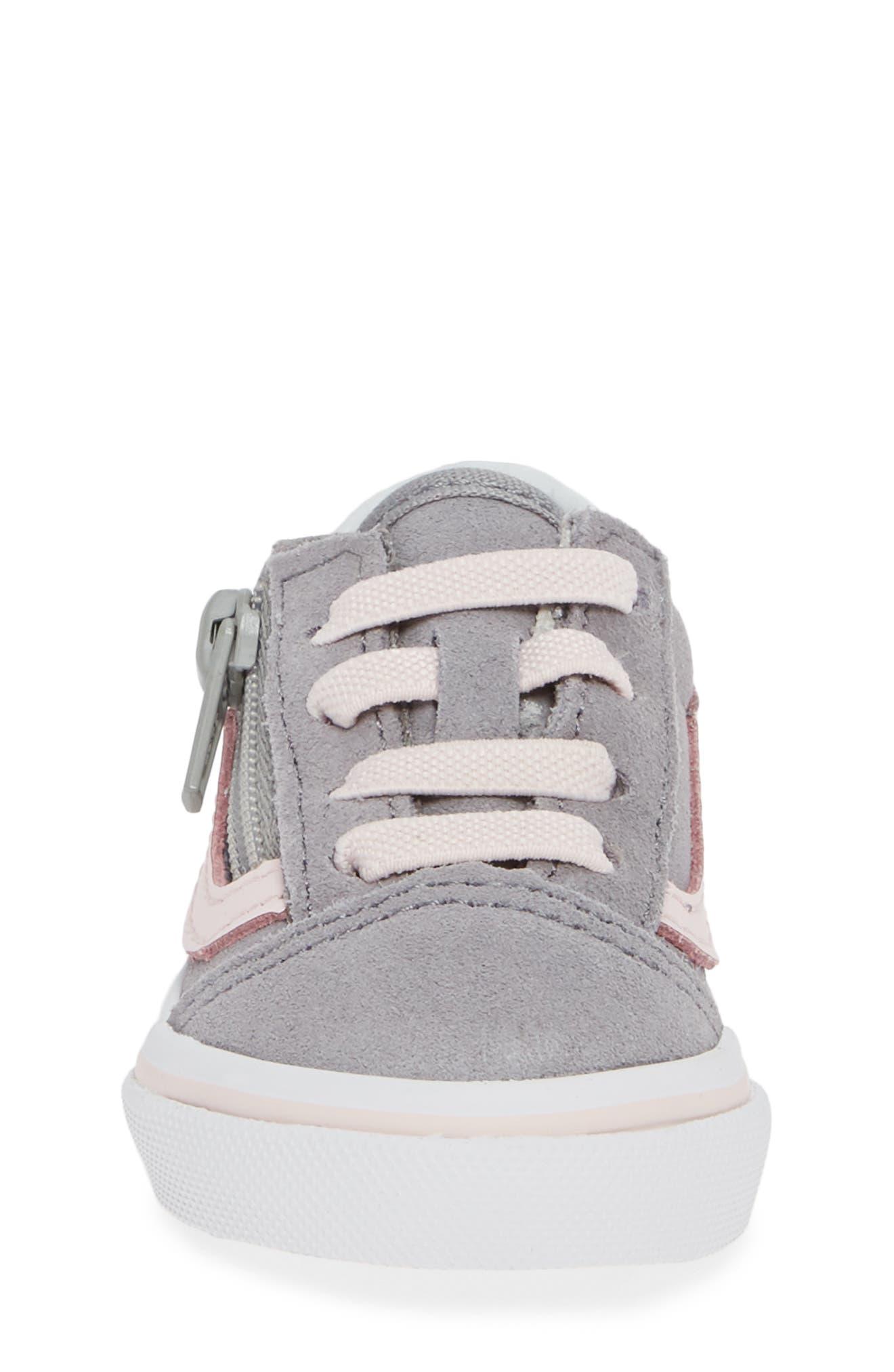 Old Skool Zip Sneaker,                             Alternate thumbnail 4, color,                             SUEDE ALLOY/ PINK/ TRUE WHITE