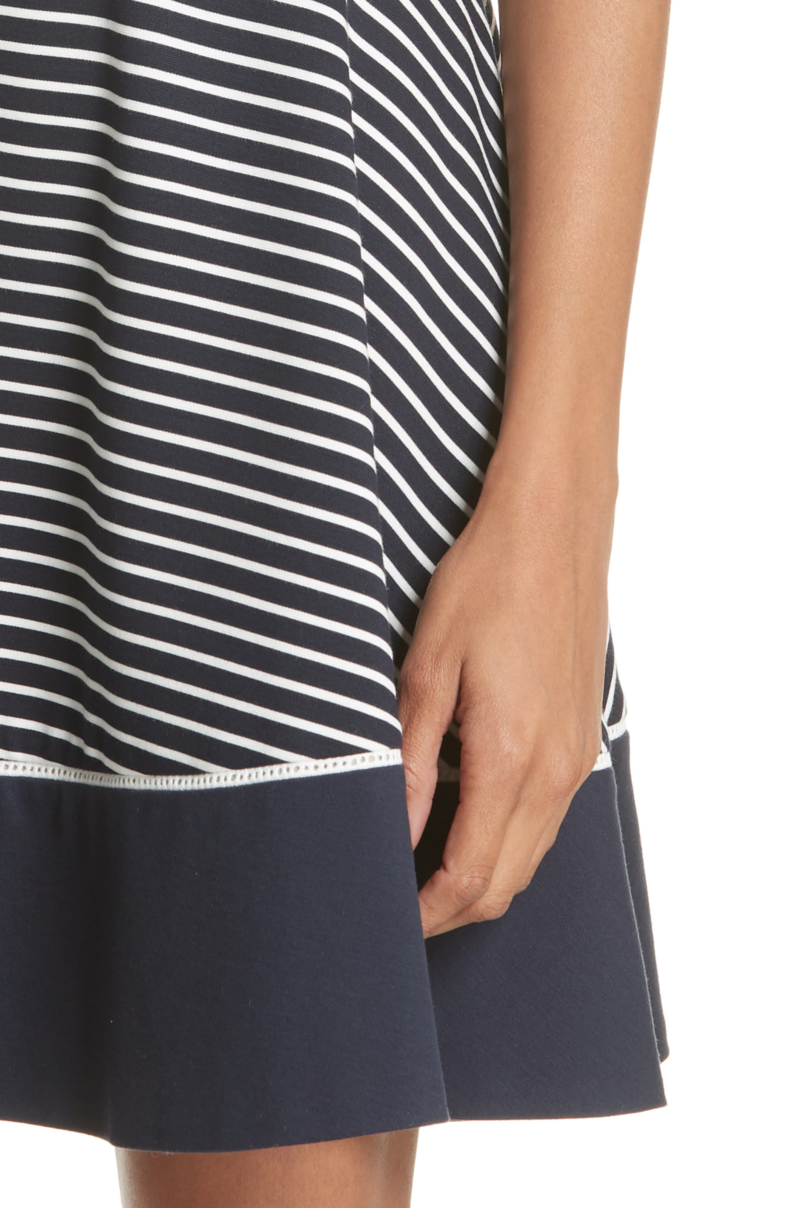 stripe ponte fit & flare dress,                             Alternate thumbnail 4, color,