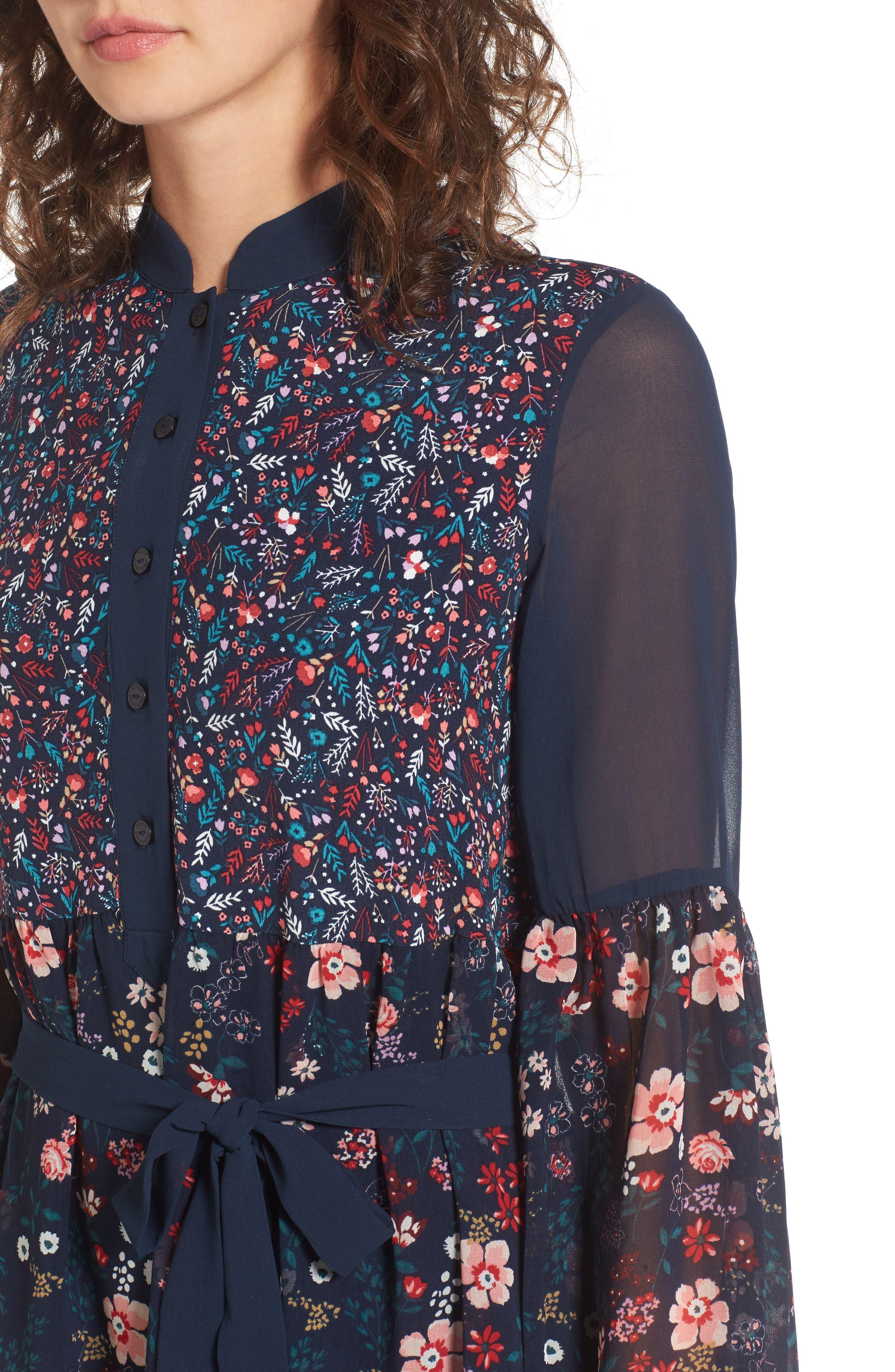 Caprice Floral Mix Shirtdress,                             Alternate thumbnail 4, color,                             497