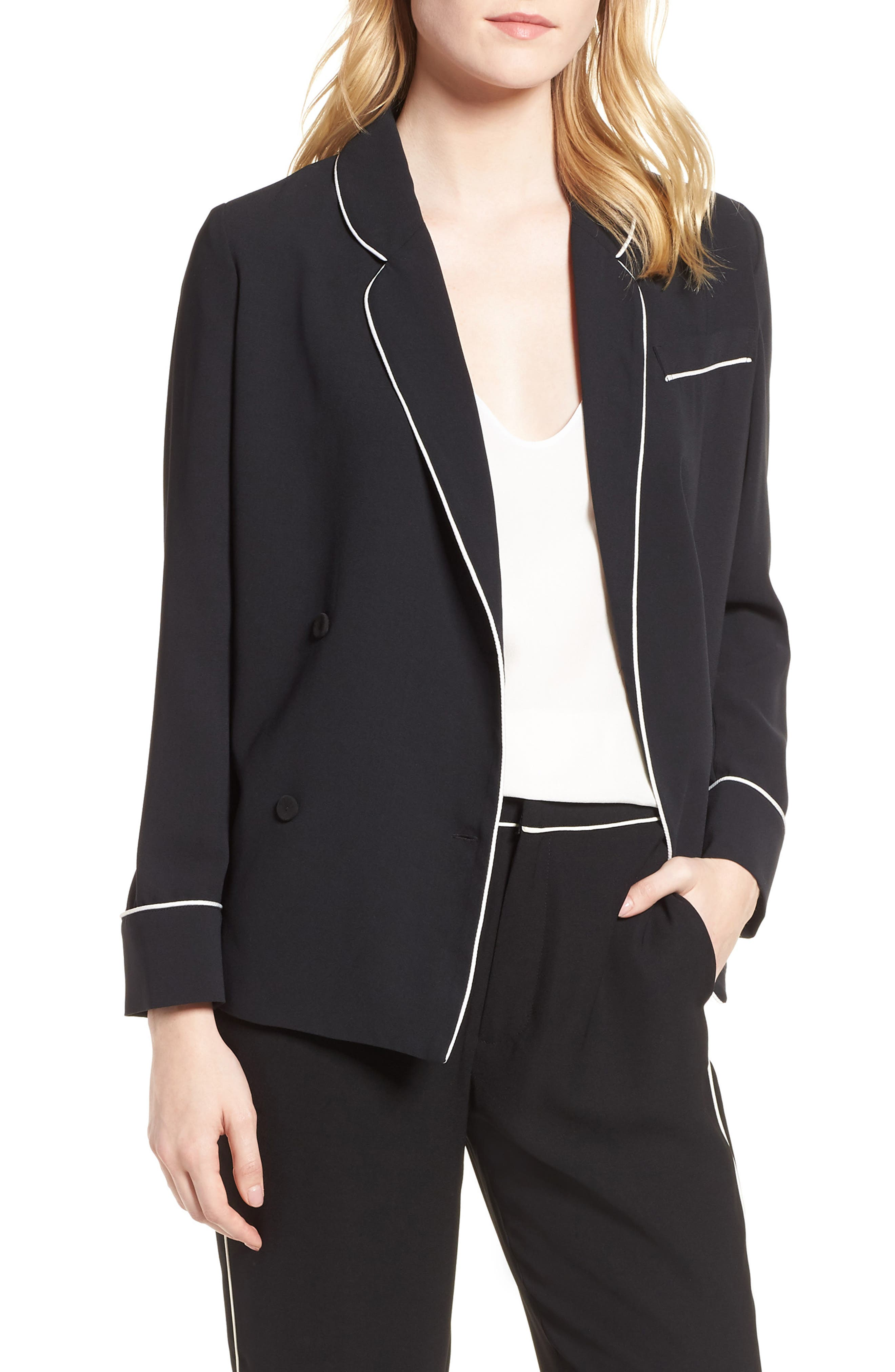 Double Breasted Jacket,                             Main thumbnail 1, color,                             BLACK/ BRIGHT WHITE PIPING