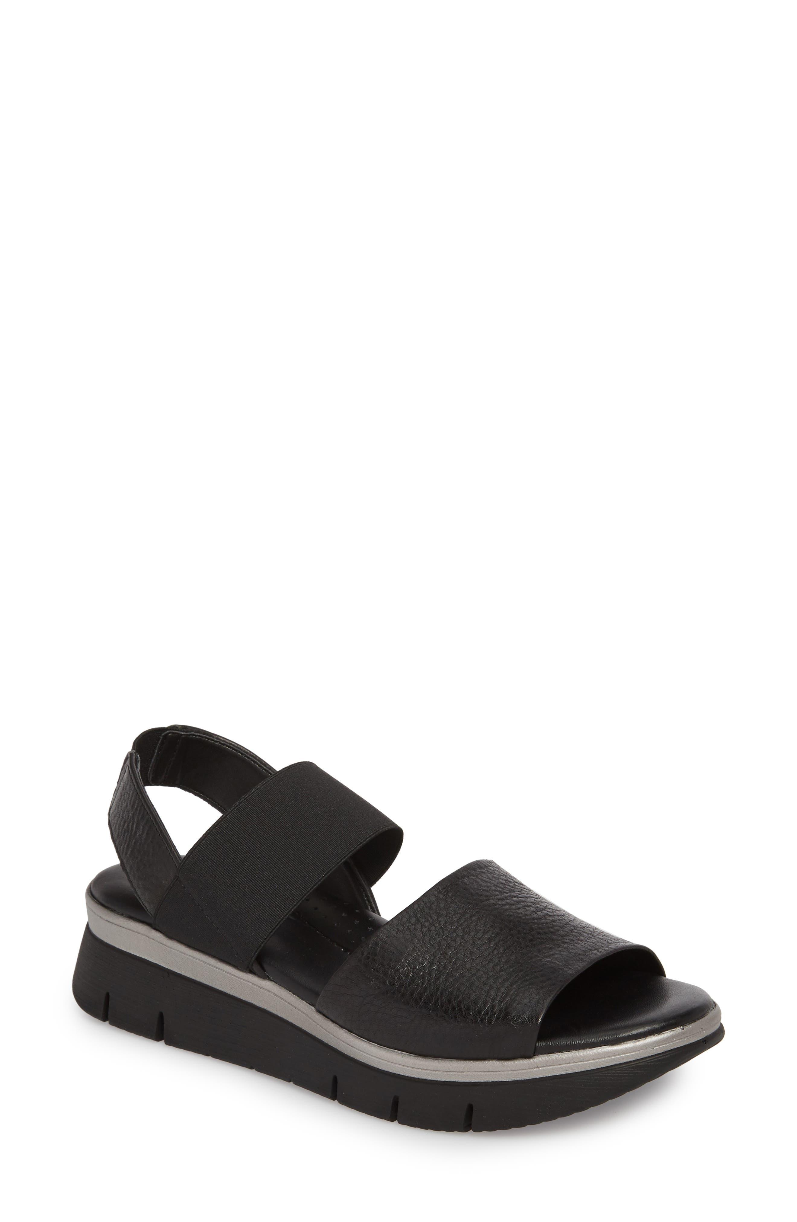 Cushy Sandal,                         Main,                         color, BLACK LEATHER