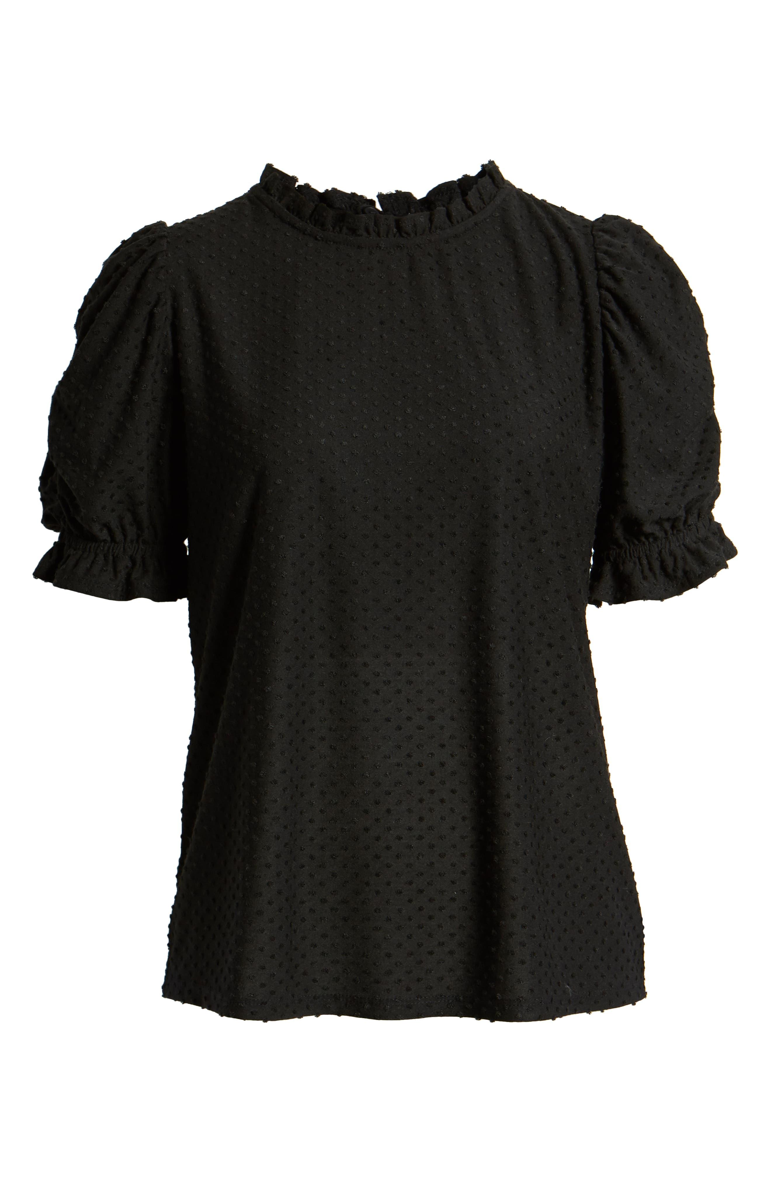 GIBSON,                             x International Women's Day Rebecca Clip Dot Ruffle Sleeve Blouse,                             Alternate thumbnail 6, color,                             CHARCOAL