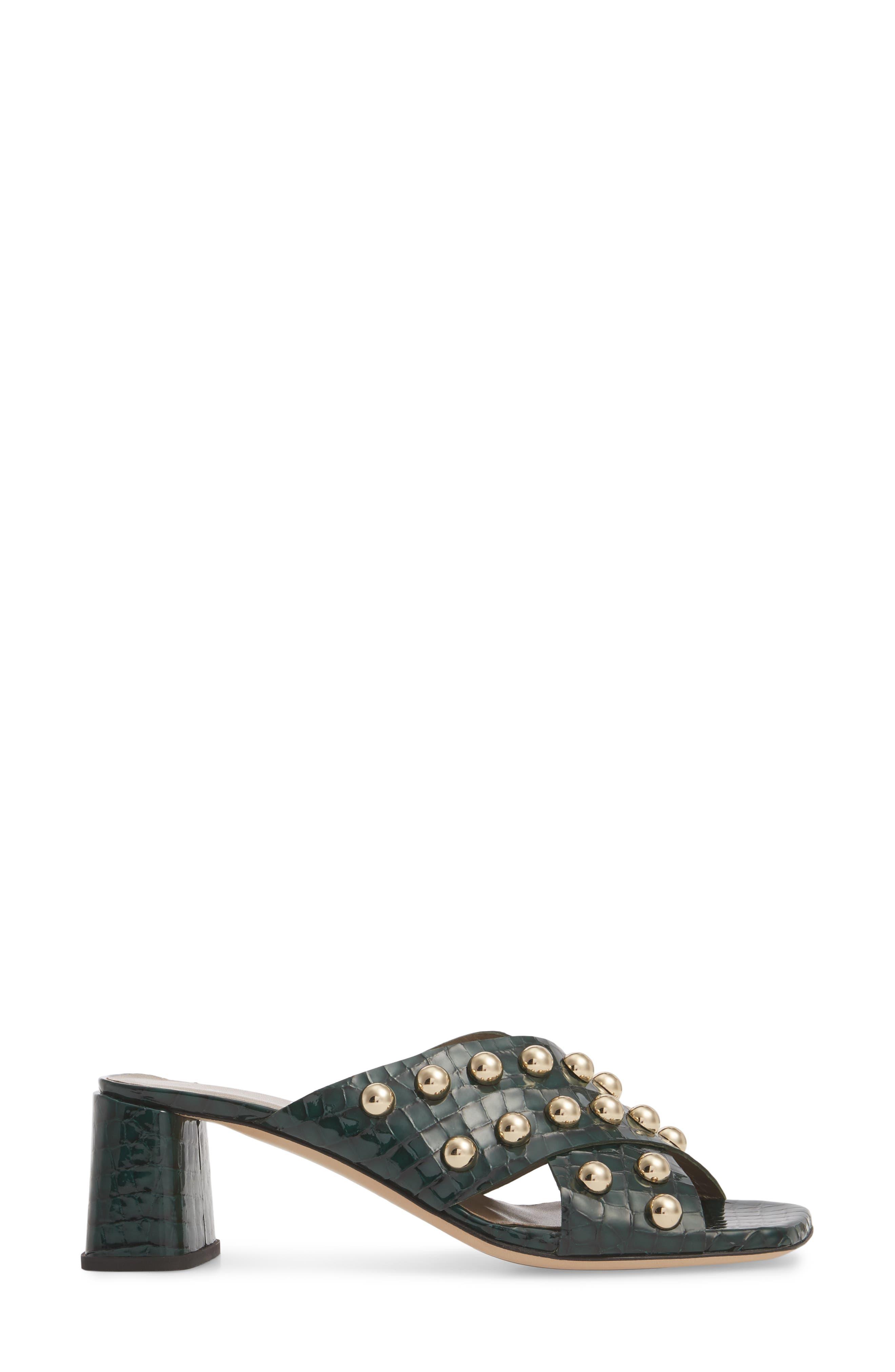 Studded Block Heel Slide Sandal,                             Alternate thumbnail 3, color,                             301