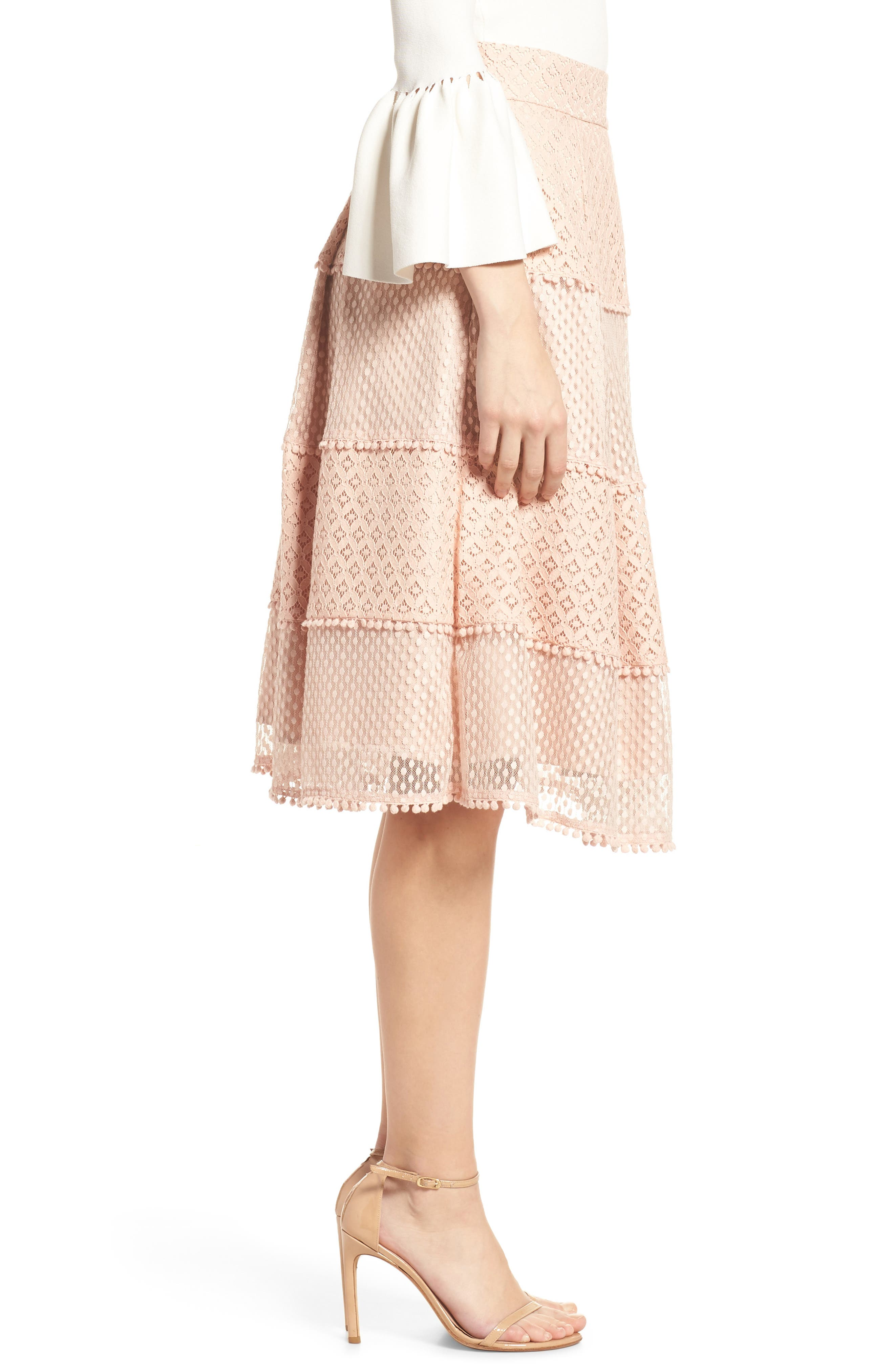 Banded Lace Midi Skirt,                             Alternate thumbnail 3, color,                             BLUSH