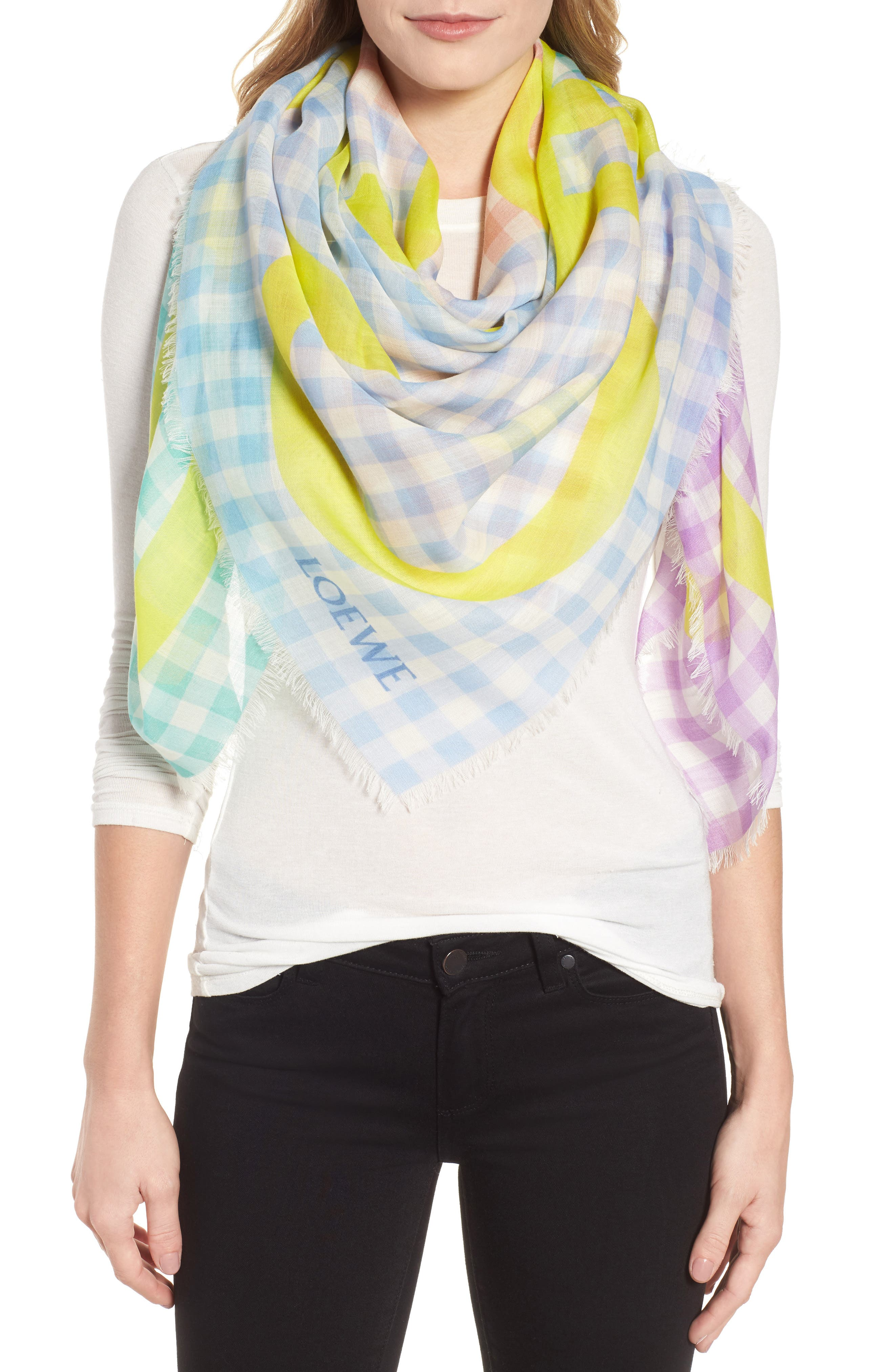Gingham Anagram Wool Scarf,                         Main,                         color, MULTICOLOR