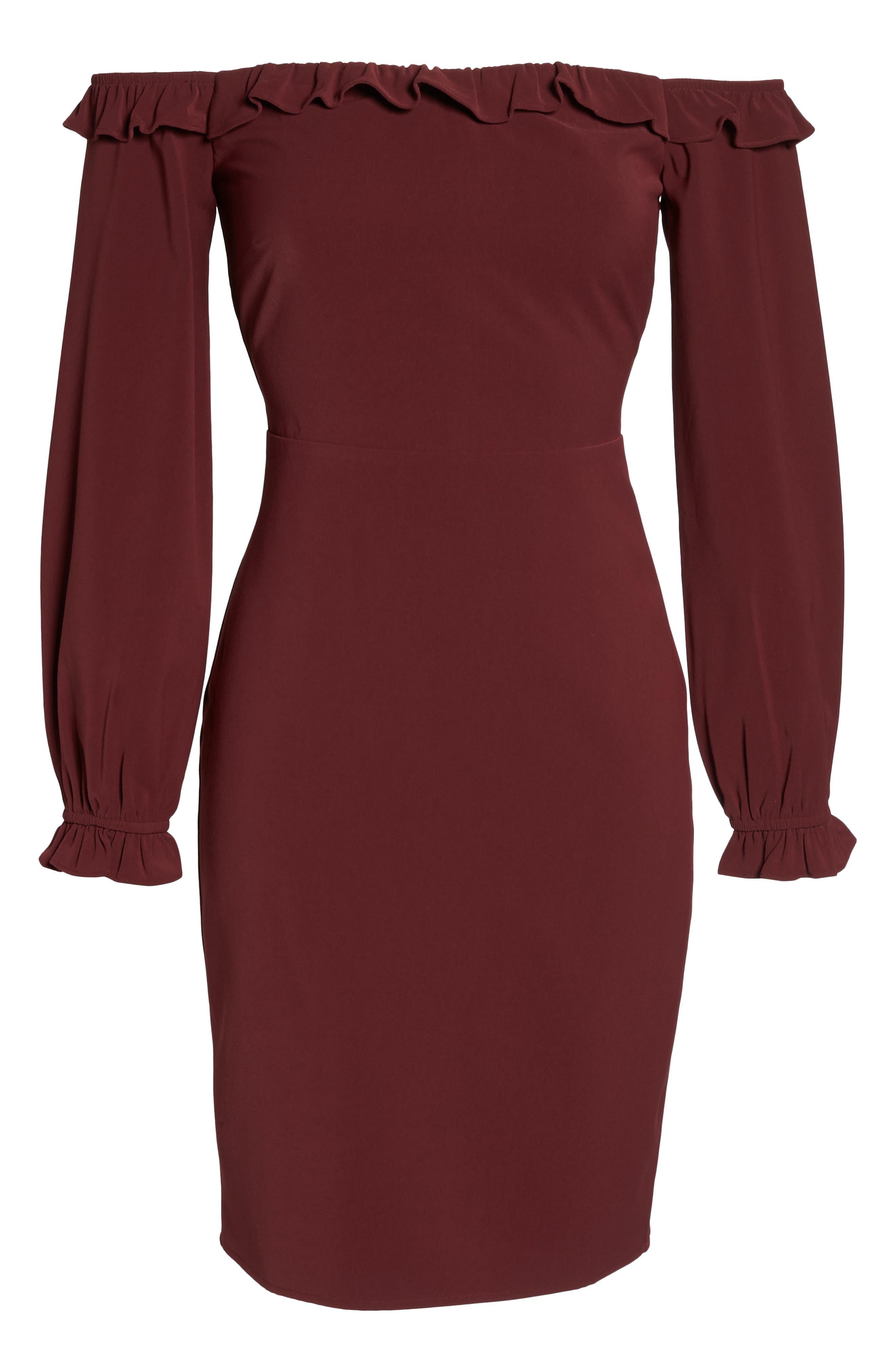 Off the Shoulder Sheath Dress,                             Alternate thumbnail 12, color,