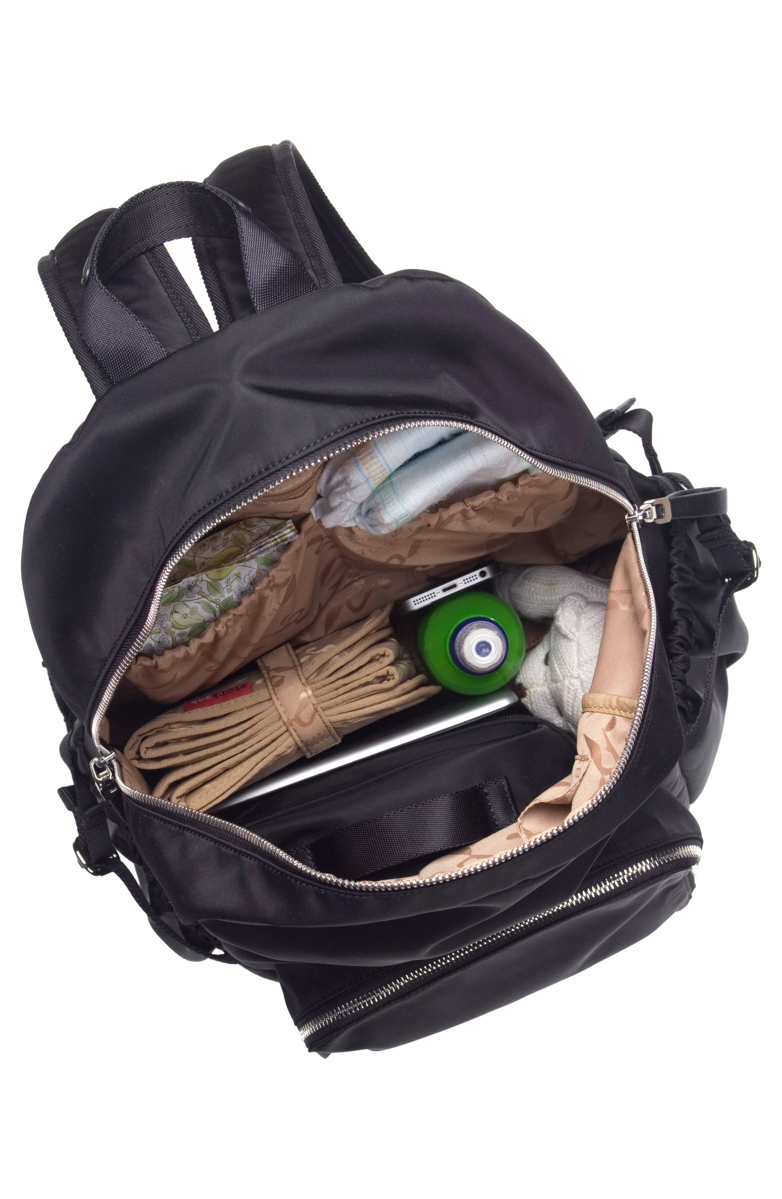 Hero Water Resistant Nylon Backpack Diaper Bag,                             Alternate thumbnail 5, color,                             BLACK