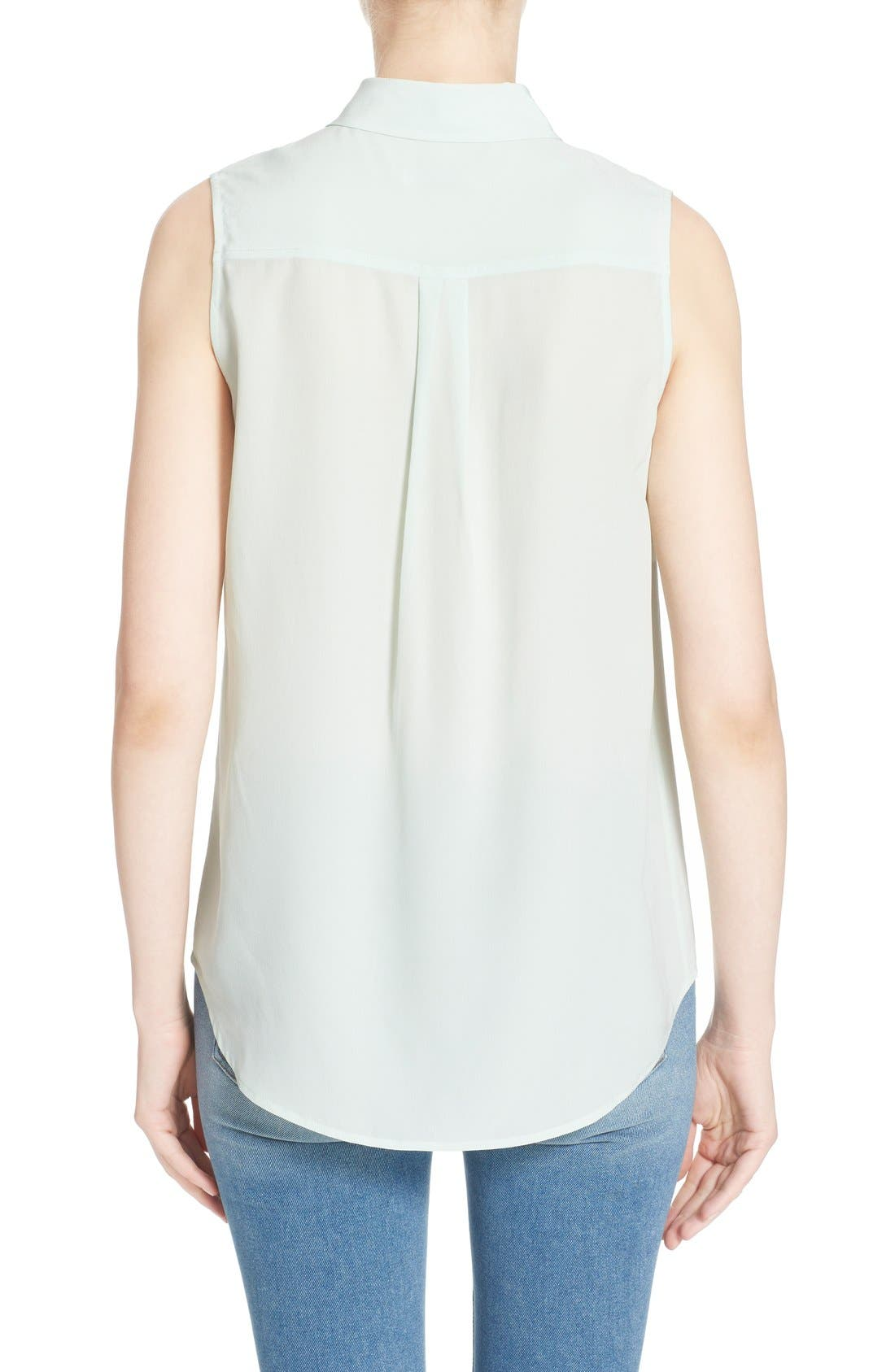 'Slim Signature' Sleeveless Silk Shirt,                             Alternate thumbnail 191, color,