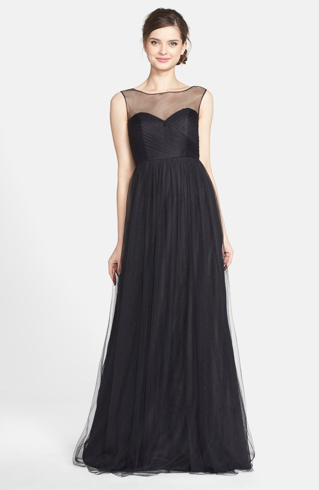 Aria Illusion Yoke Pleated Tulle Gown, Main, color, 001