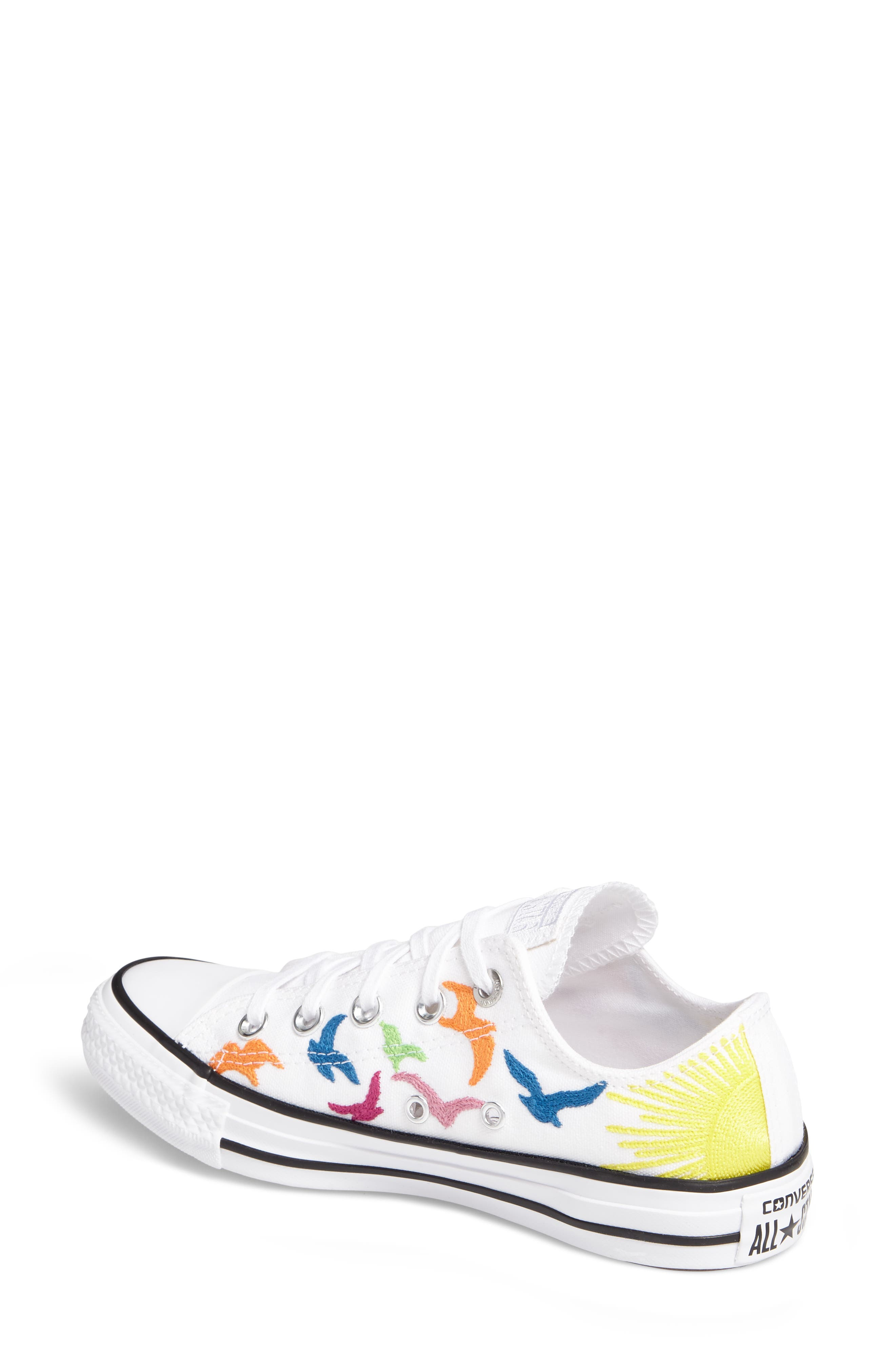 x Mara Hoffman All Star<sup>®</sup> Embroidered Ox Sneaker,                             Alternate thumbnail 2, color,                             100