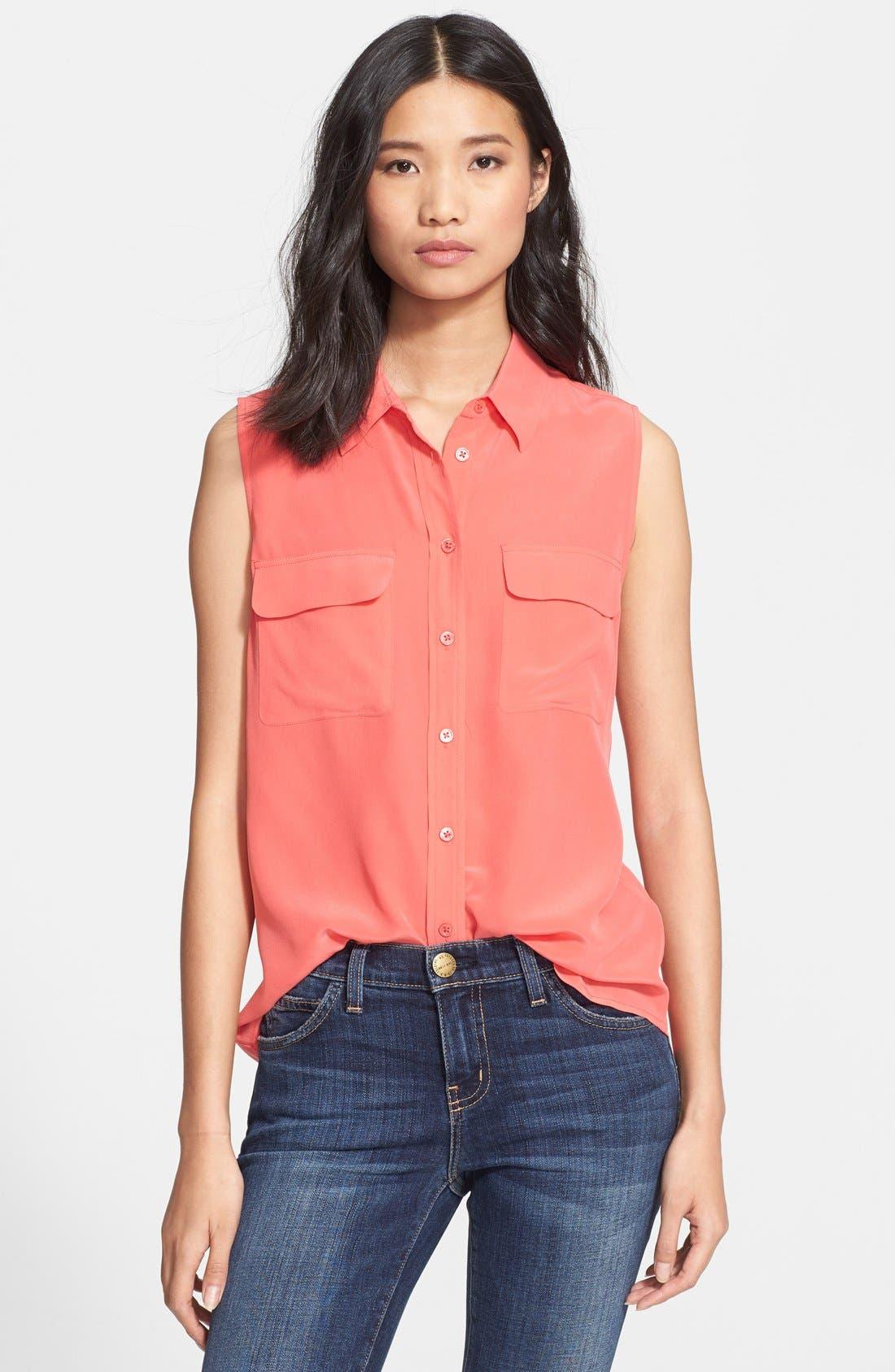 'Slim Signature' Sleeveless Silk Shirt,                             Main thumbnail 41, color,
