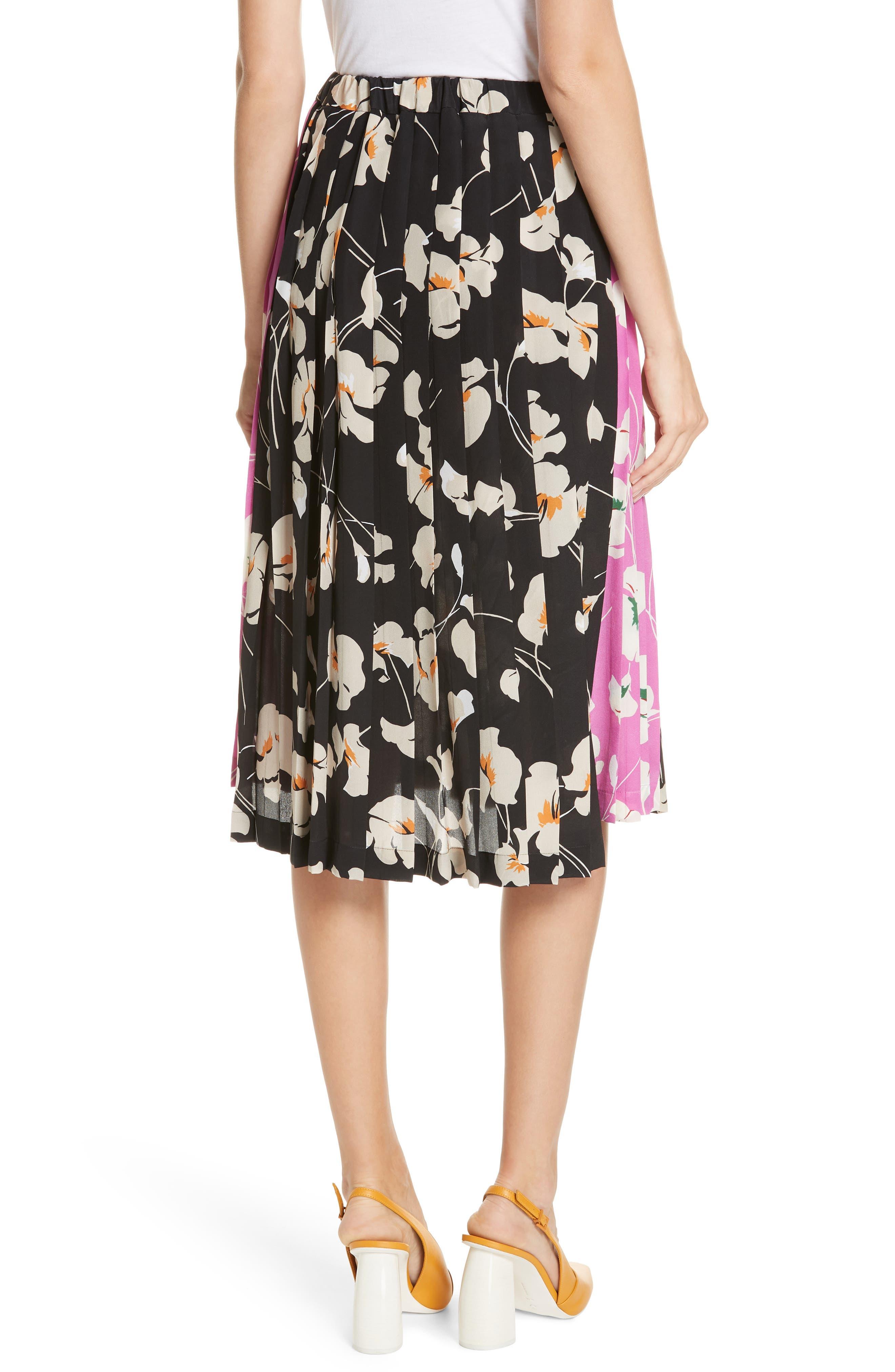 N°21,                             Nº21 Contrast Panel Floral Print Silk Skirt,                             Alternate thumbnail 2, color,                             STAMPA FONDO NERO