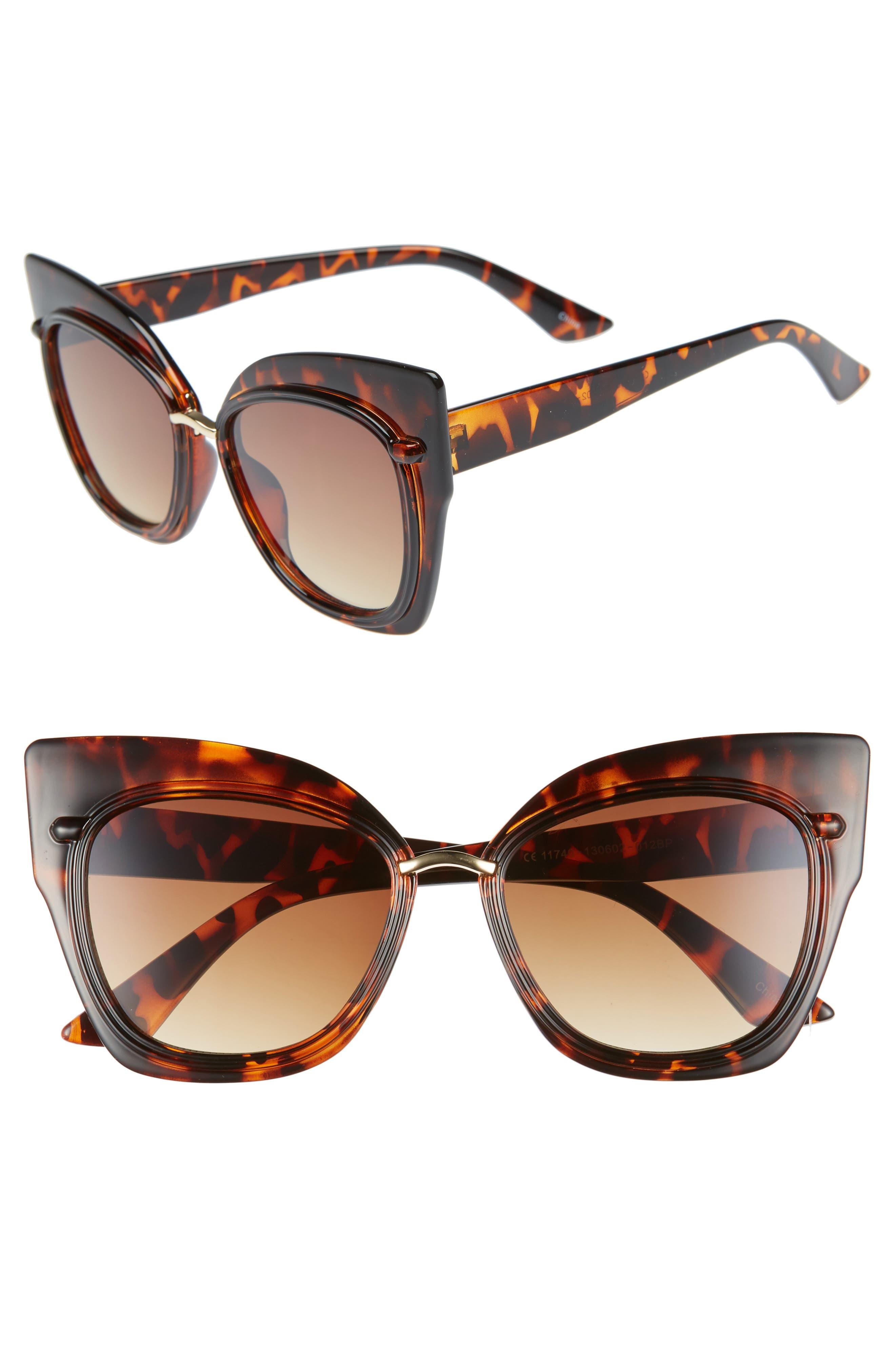 55mm Dual Oversized Cat Eye Sunglasses,                         Main,                         color, 200