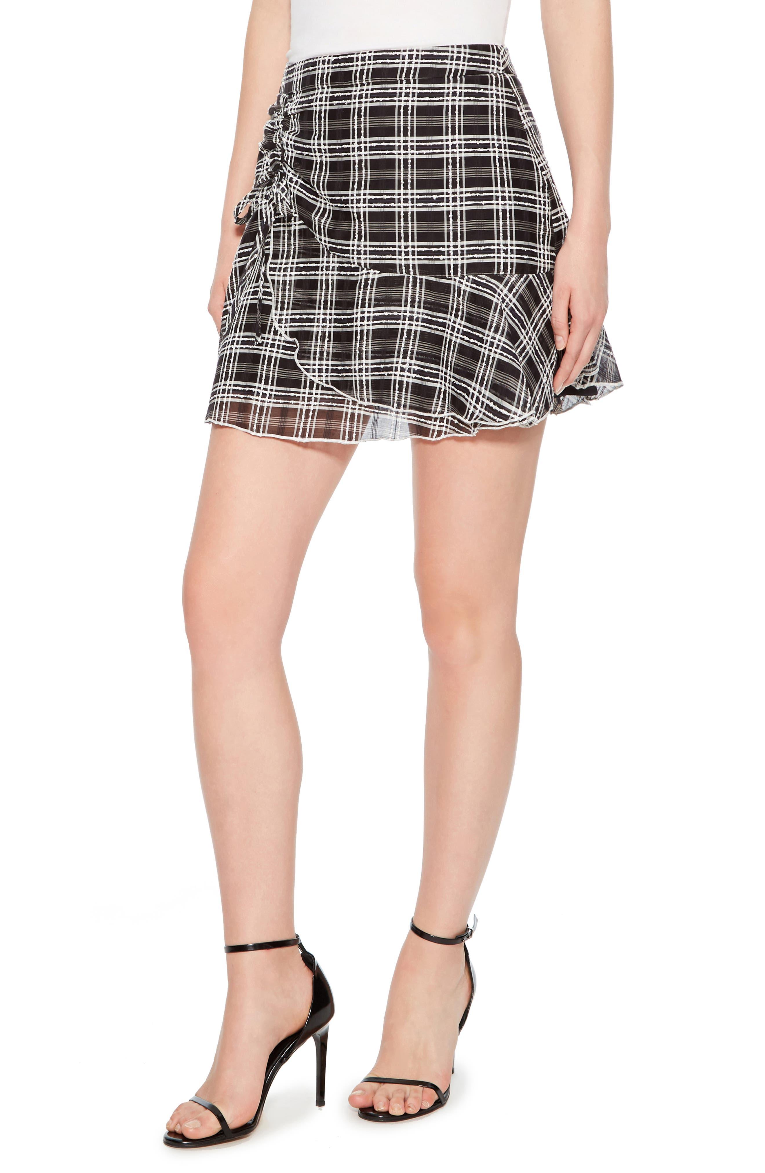Chris Side Ruched Miniskirt,                             Alternate thumbnail 3, color,                             BLACK/ WHITE