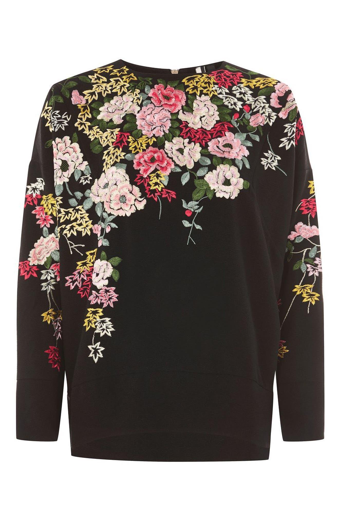 Kimono Embroidered Sweatshirt,                             Alternate thumbnail 4, color,                             001