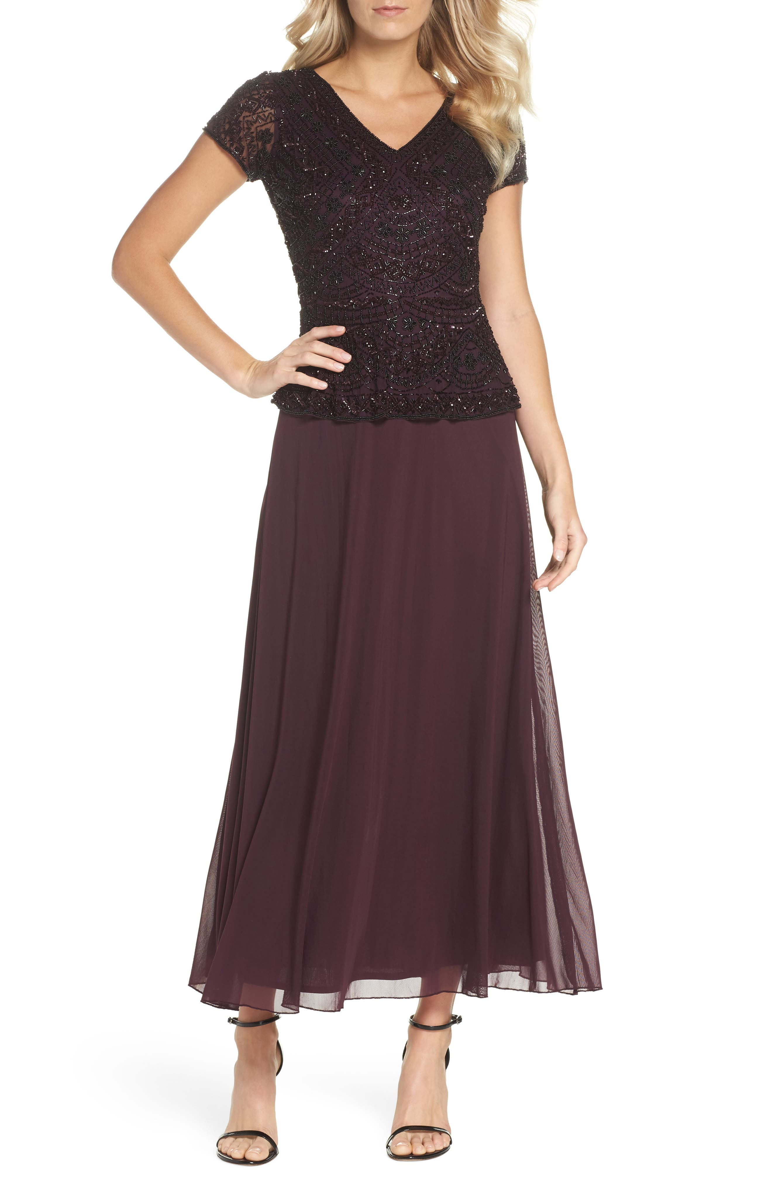 Beaded V-Neck Mock Two-Piece Gown,                             Main thumbnail 1, color,                             WINE