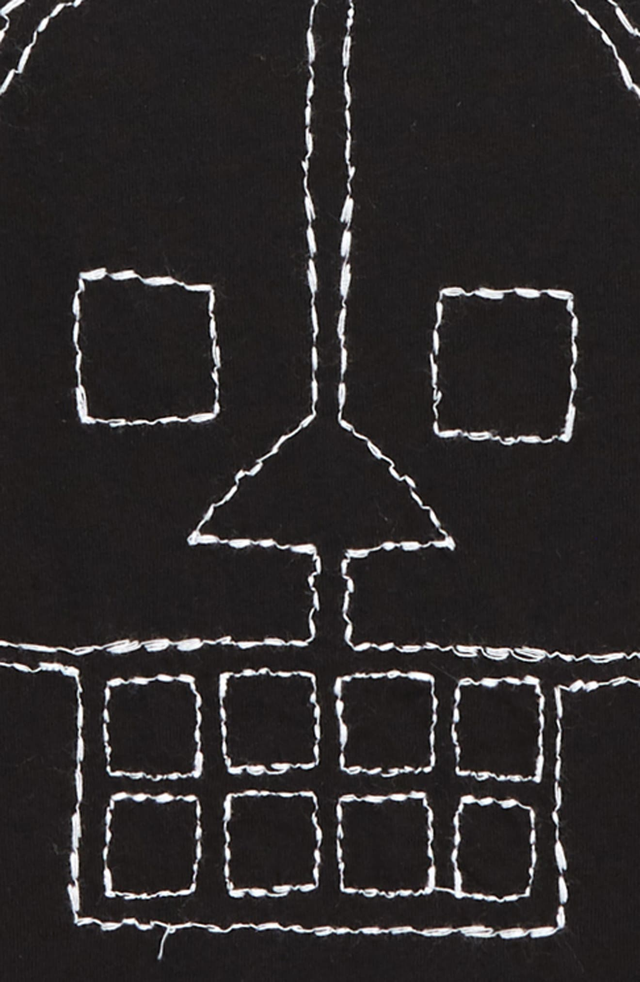 Embroidered Skull Layered Shirt,                             Alternate thumbnail 2, color,                             001