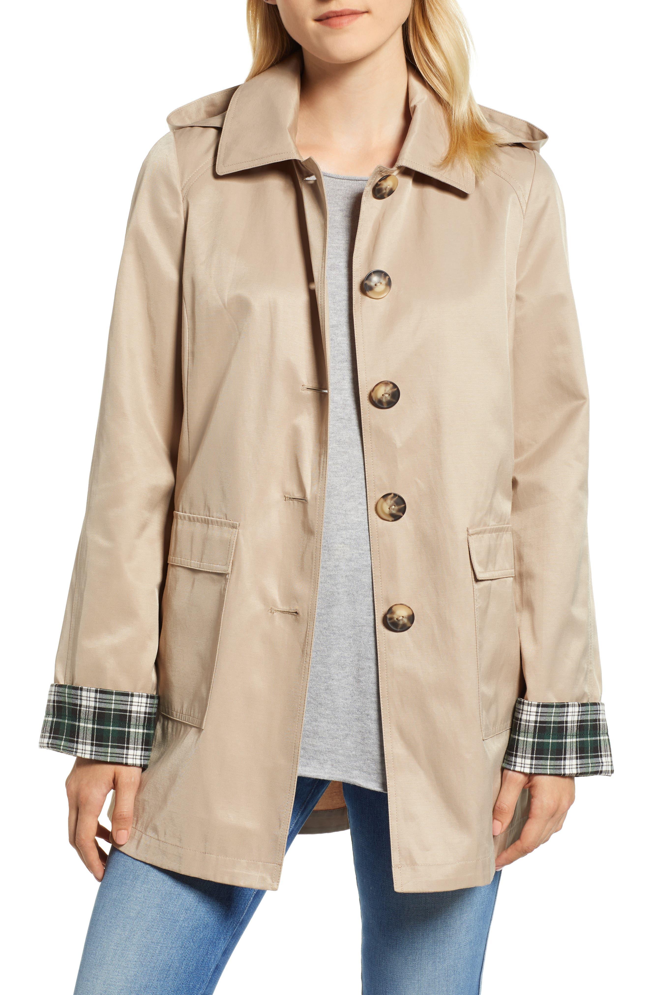 Hooded Mac Jacket,                         Main,                         color, KHAKI