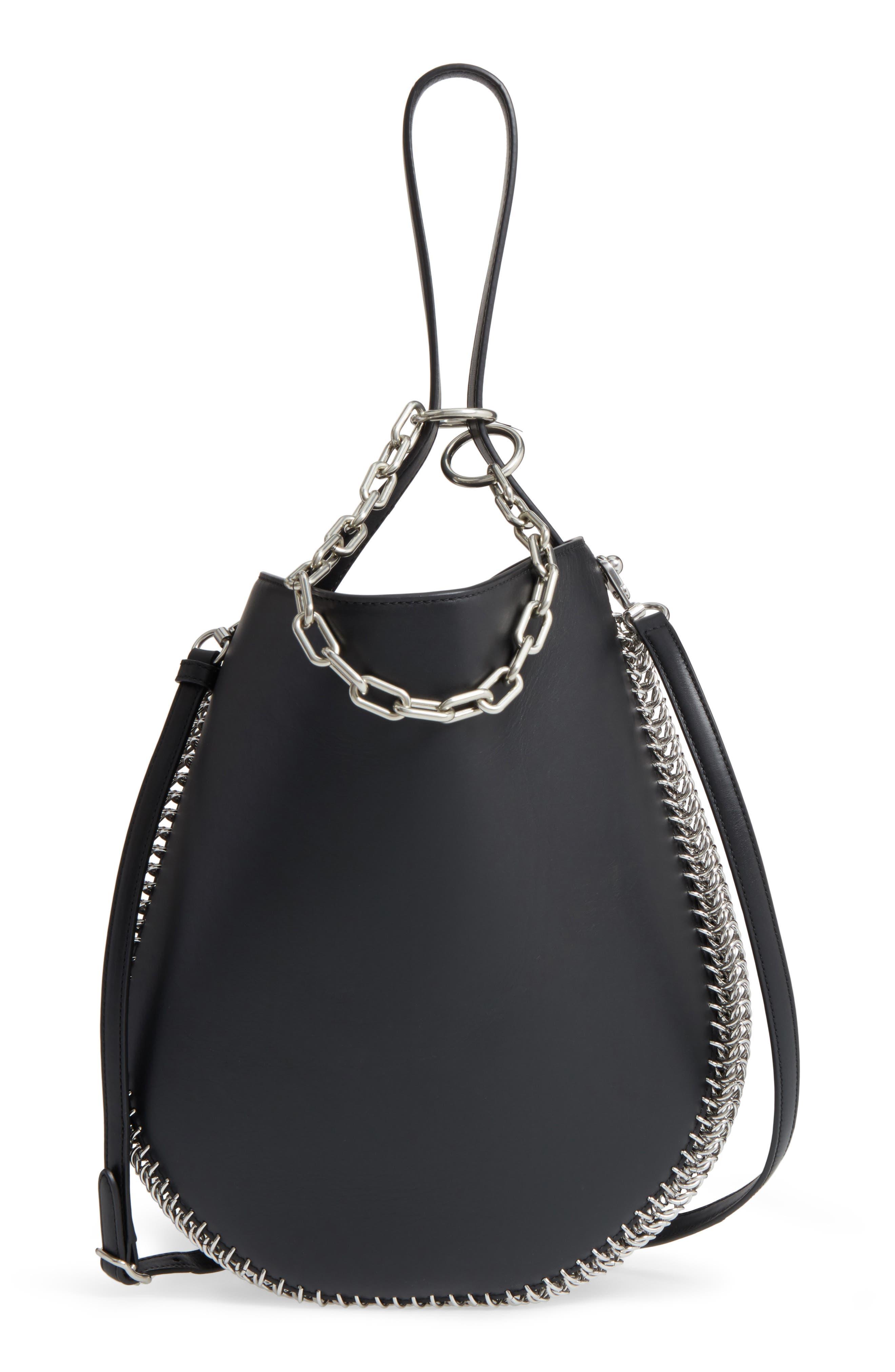 Roxy Studded Leather Hobo Bag,                         Main,                         color, 001