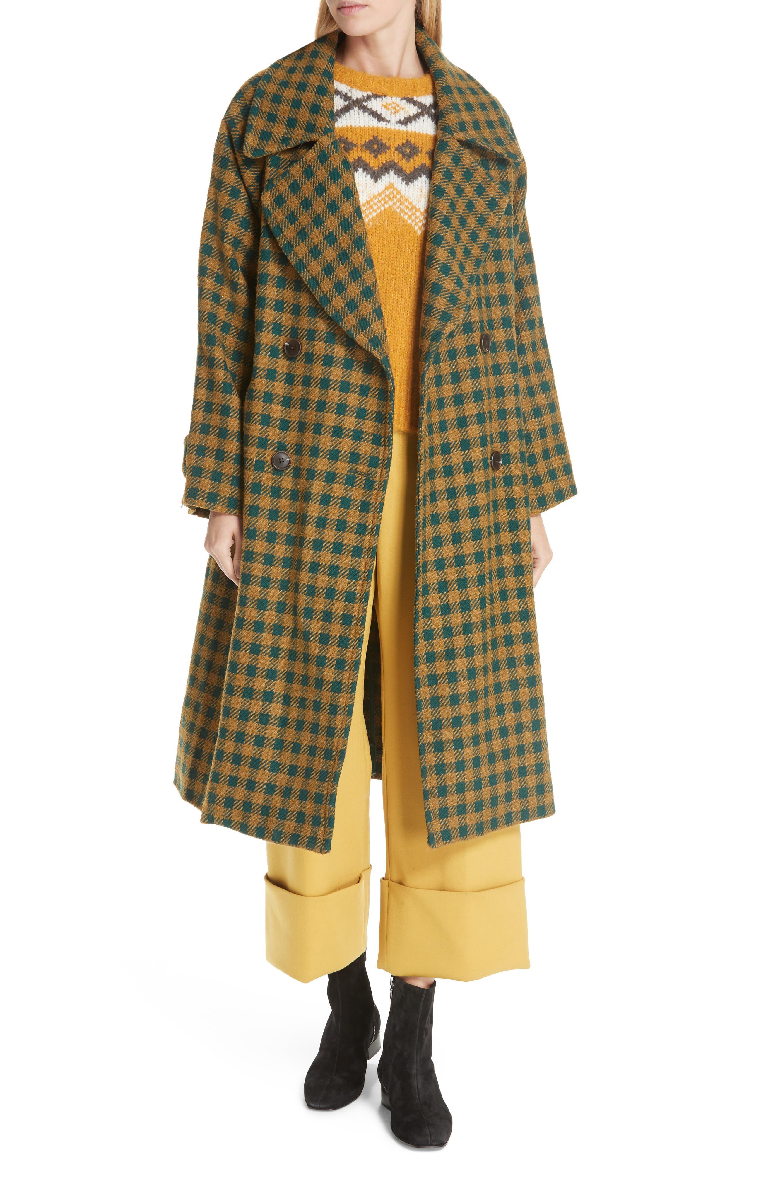 Ethno Pop Check Boyfriend Coat,                             Main thumbnail 1, color,                             GREEN CHECK