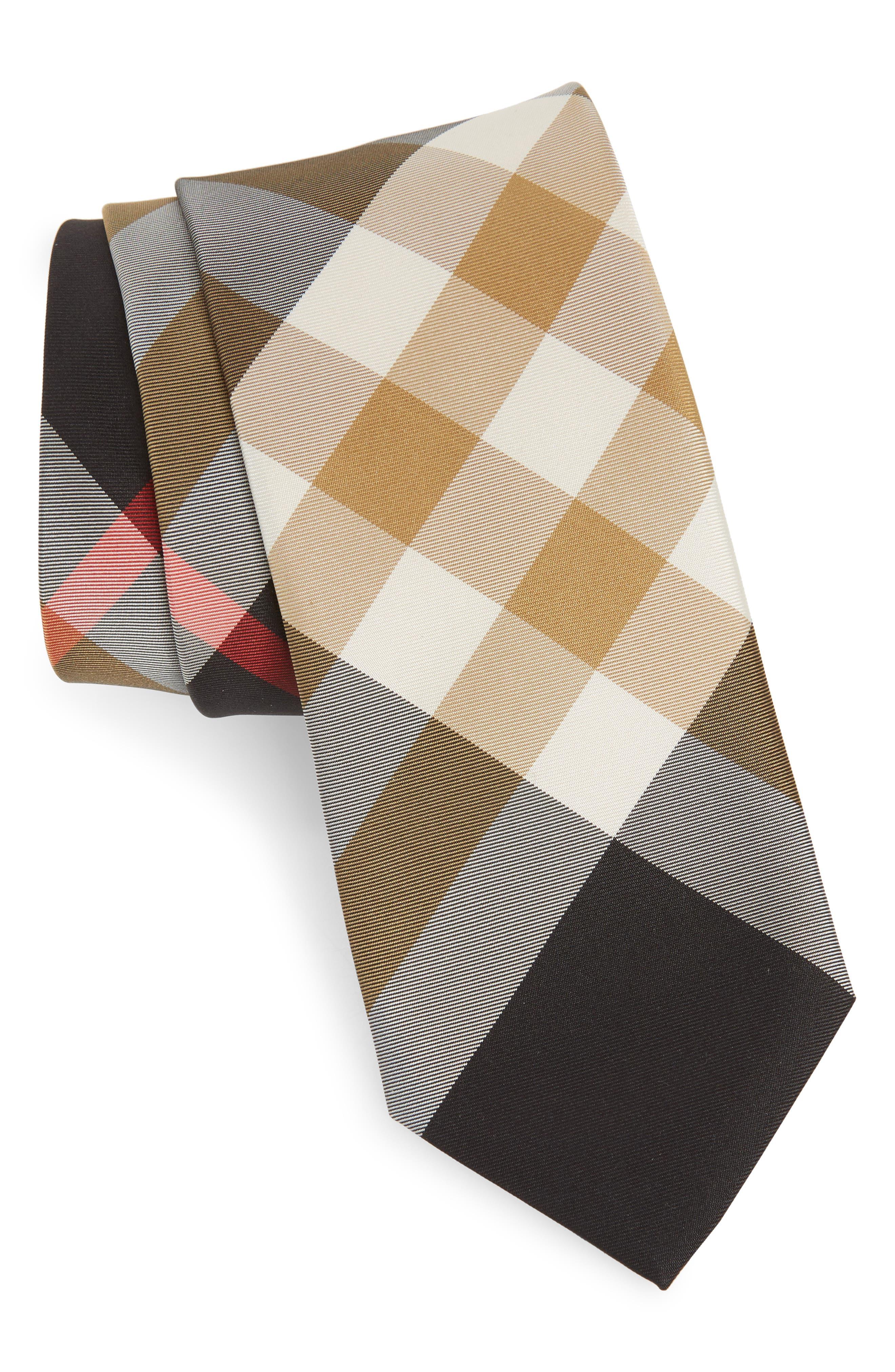 Manston Check Silk Blend Tie,                         Main,                         color, BLACK