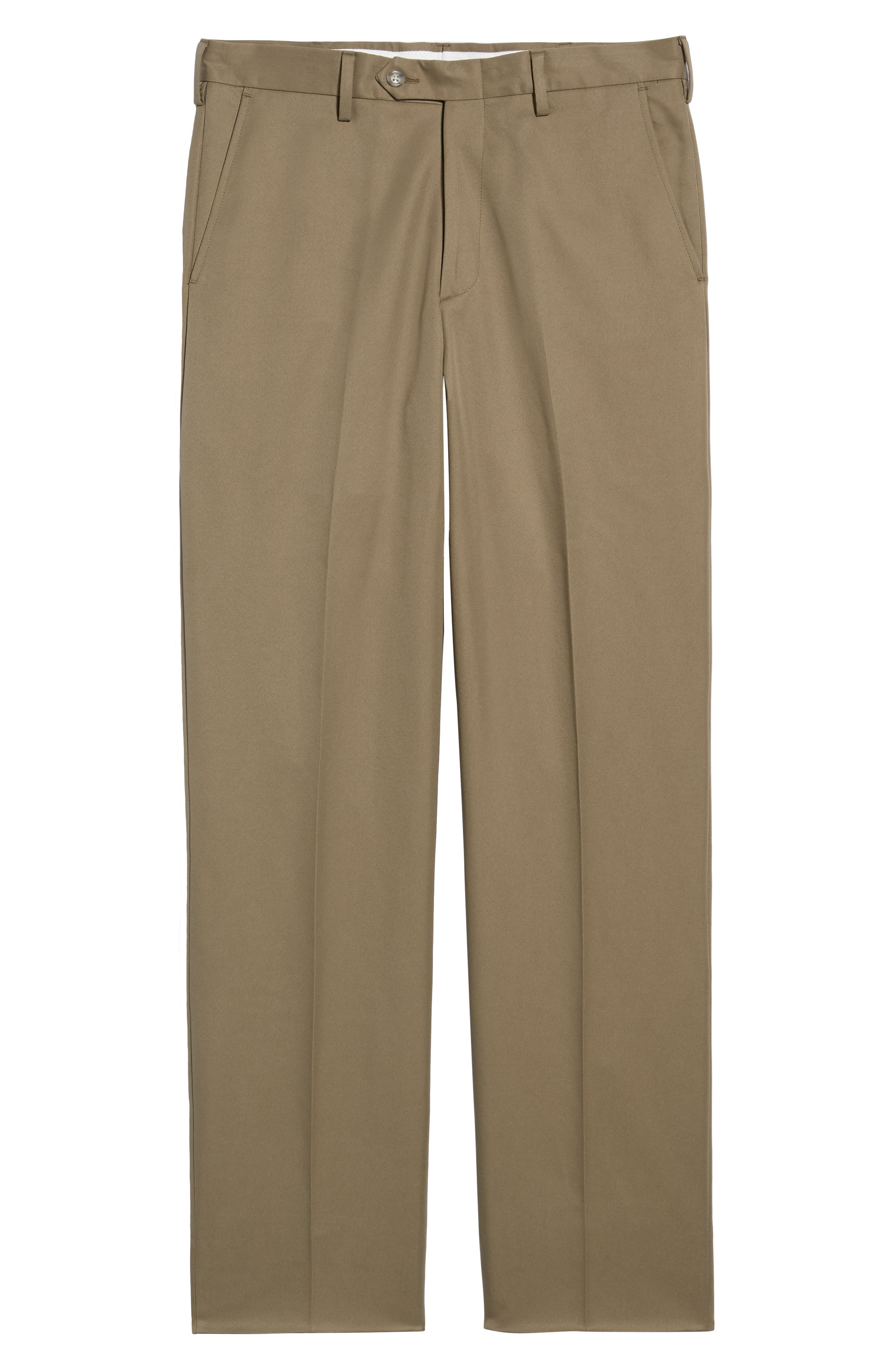 Classic Fit Flat Front Microfiber Performance Trousers,                             Alternate thumbnail 6, color,                             GREEN