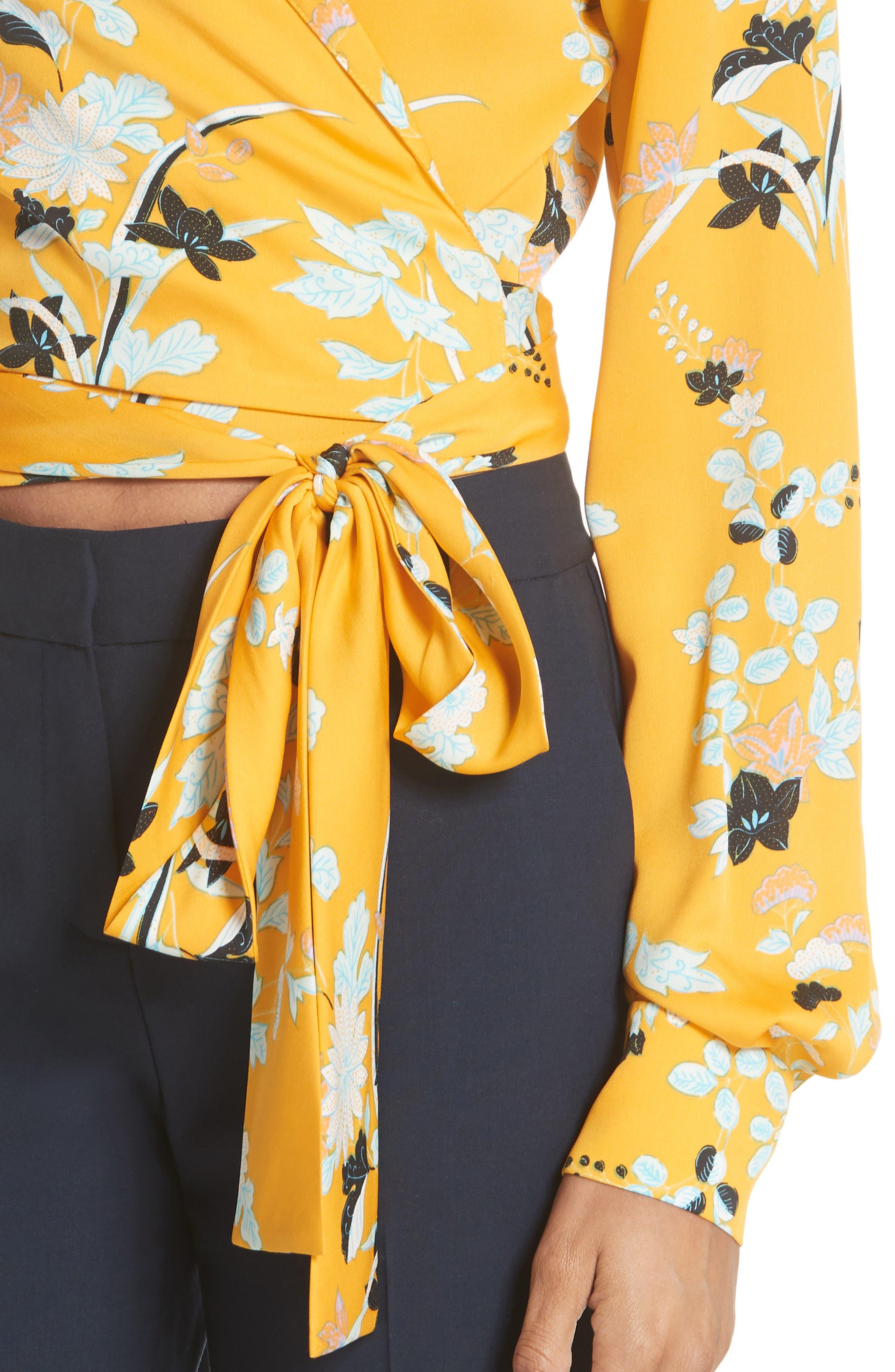 Floral Silk Wrap Blouse,                             Alternate thumbnail 4, color,