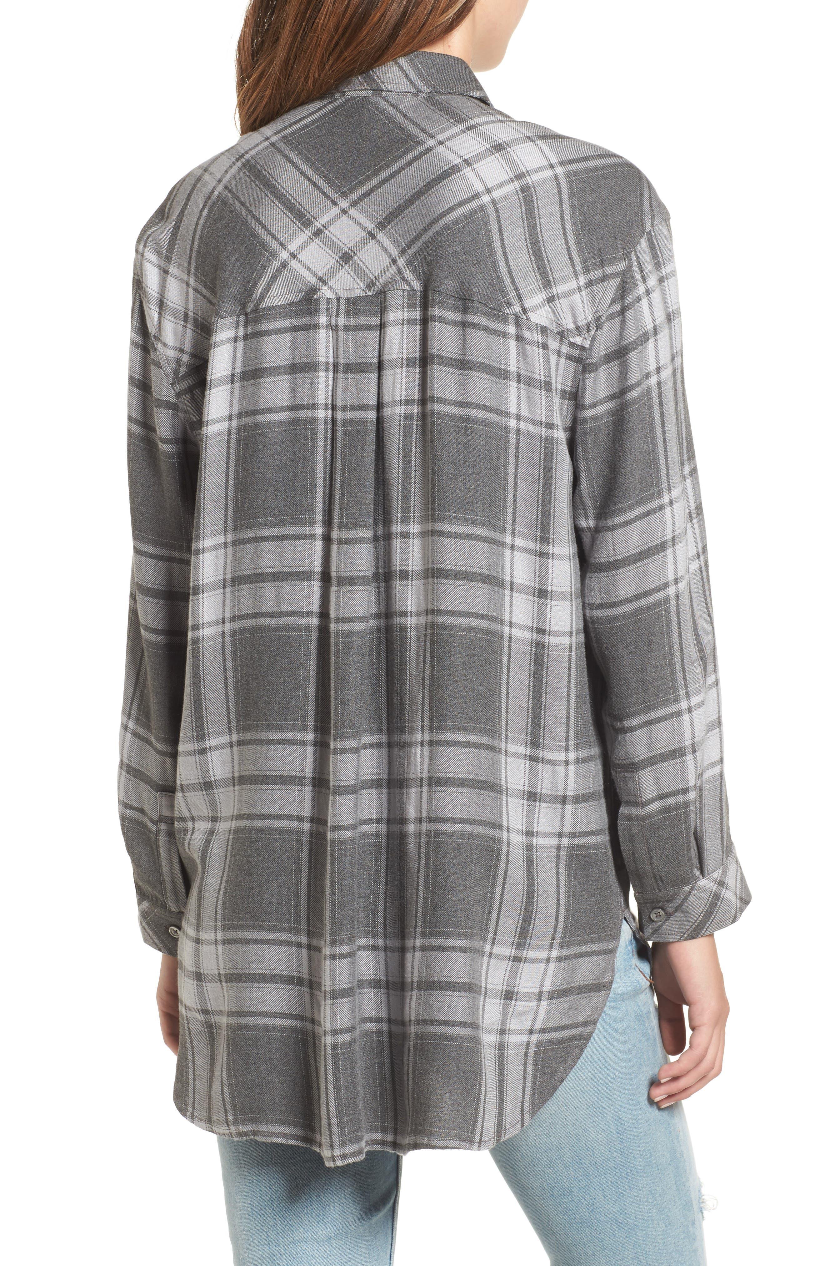 Oversize Flannel Shirt,                             Alternate thumbnail 2, color,                             030