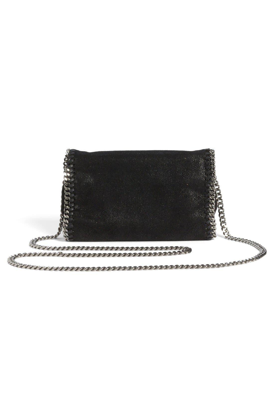 'Falabella - Shaggy Deer' Faux Leather Crossbody Bag,                             Alternate thumbnail 8, color,                             BLACK SLVR HRDWR