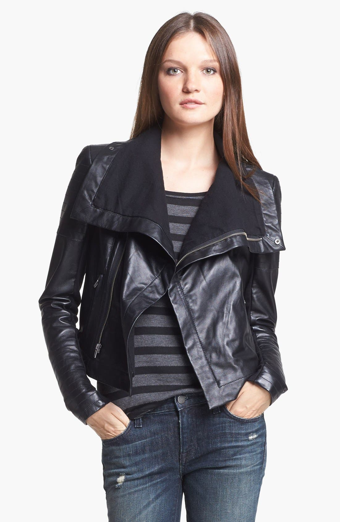 VEDA 'Max' Leather Moto Jacket, Main, color, 001
