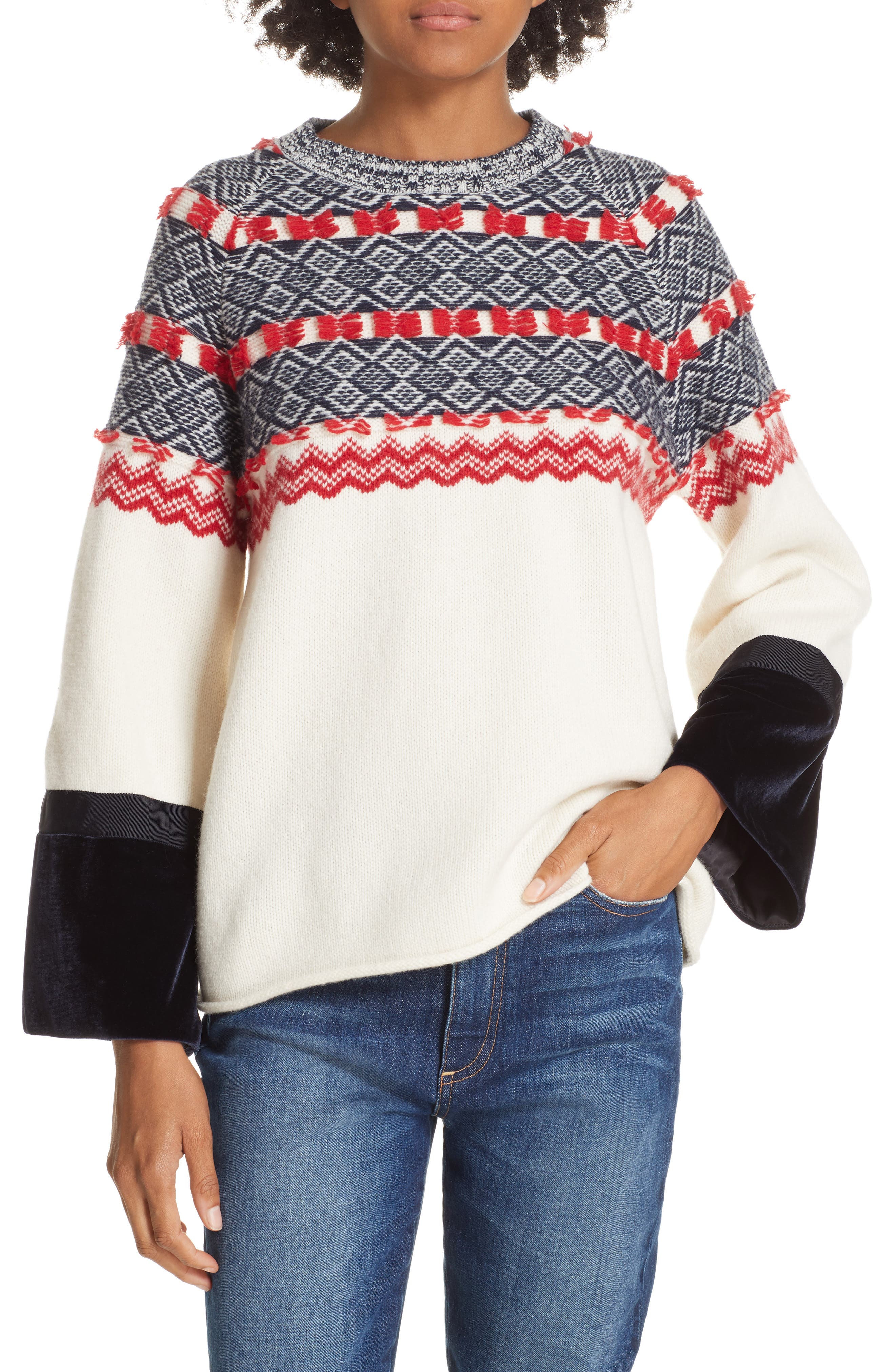 Fair Isle Mix Media Wool Blend Sweater,                         Main,                         color, NAVY/ RED