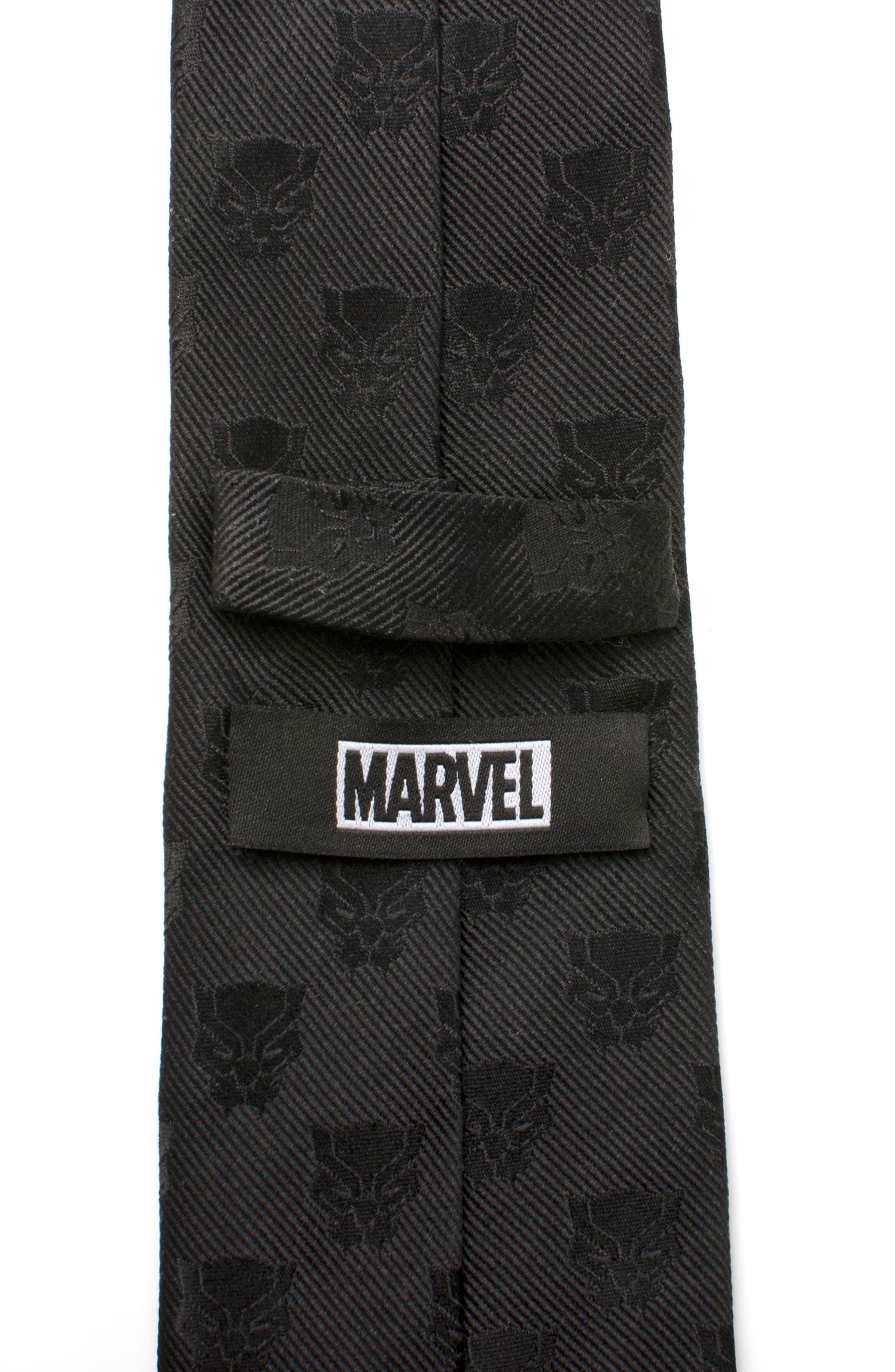Black Panther Silk Tie,                             Alternate thumbnail 5, color,                             BLACK
