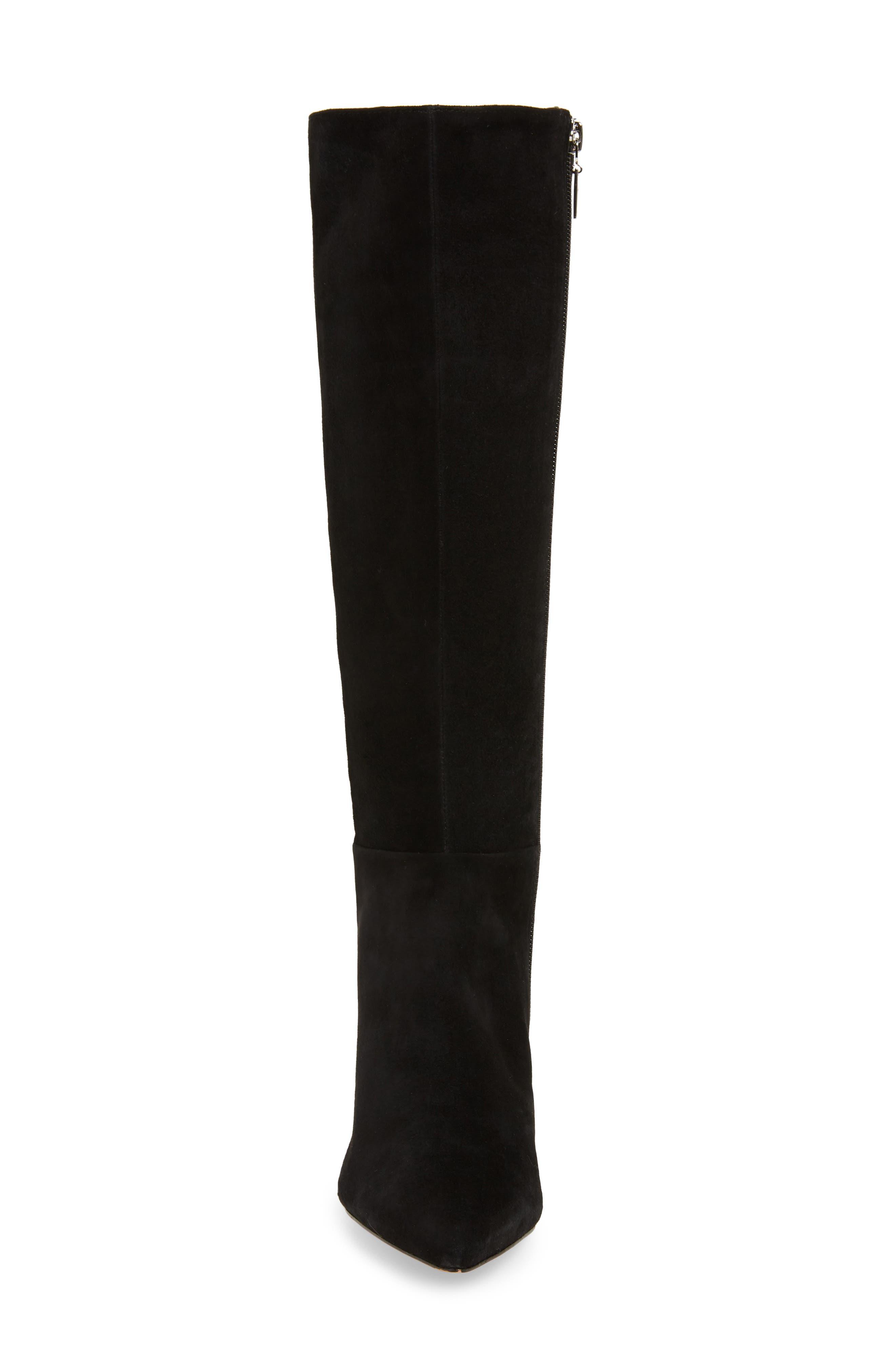 Knee High Boot,                             Alternate thumbnail 4, color,                             BLACK FABRIC