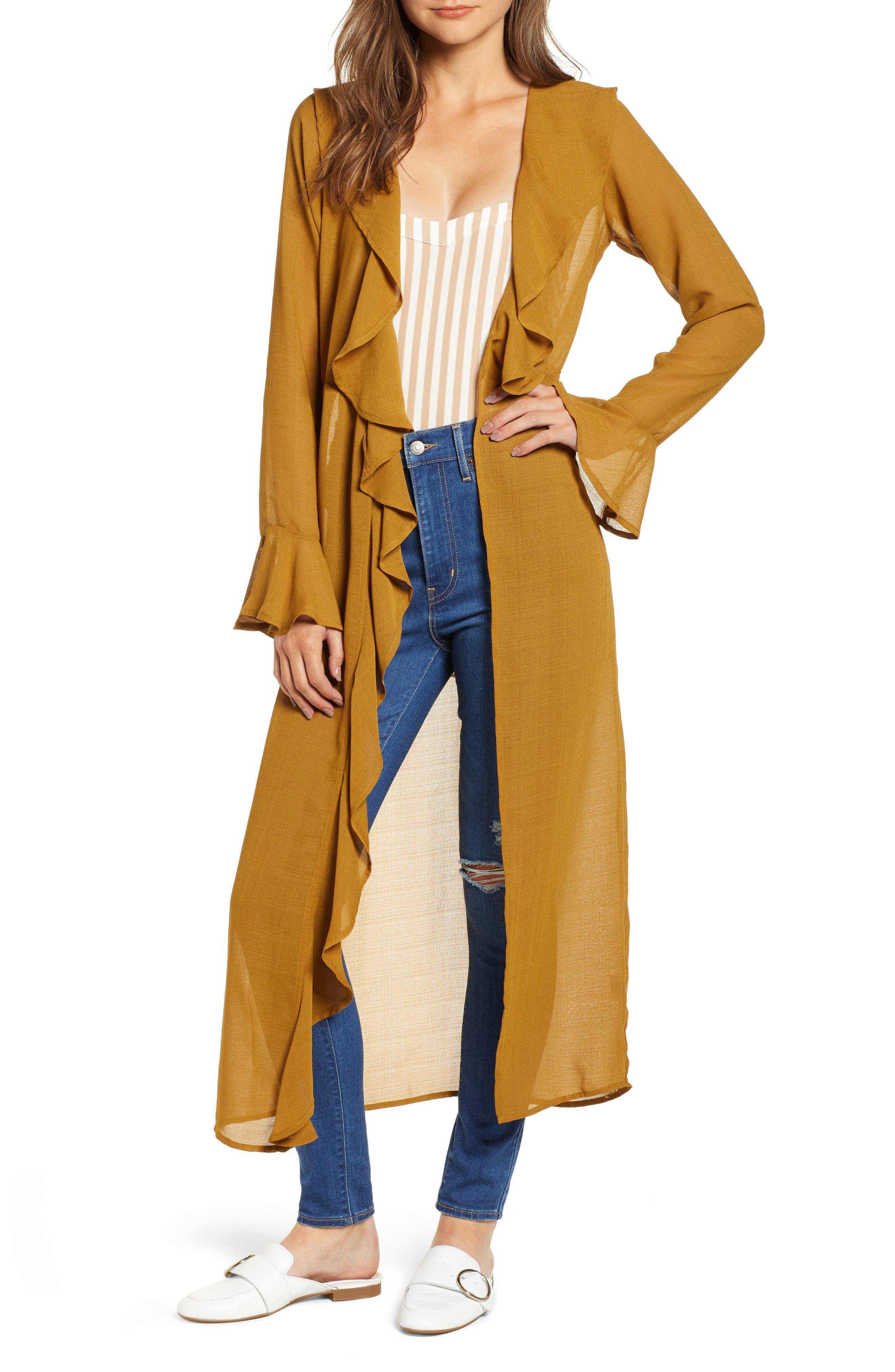 Ruffle Front Wrap Jacket,                             Main thumbnail 1, color,                             TAPENADE