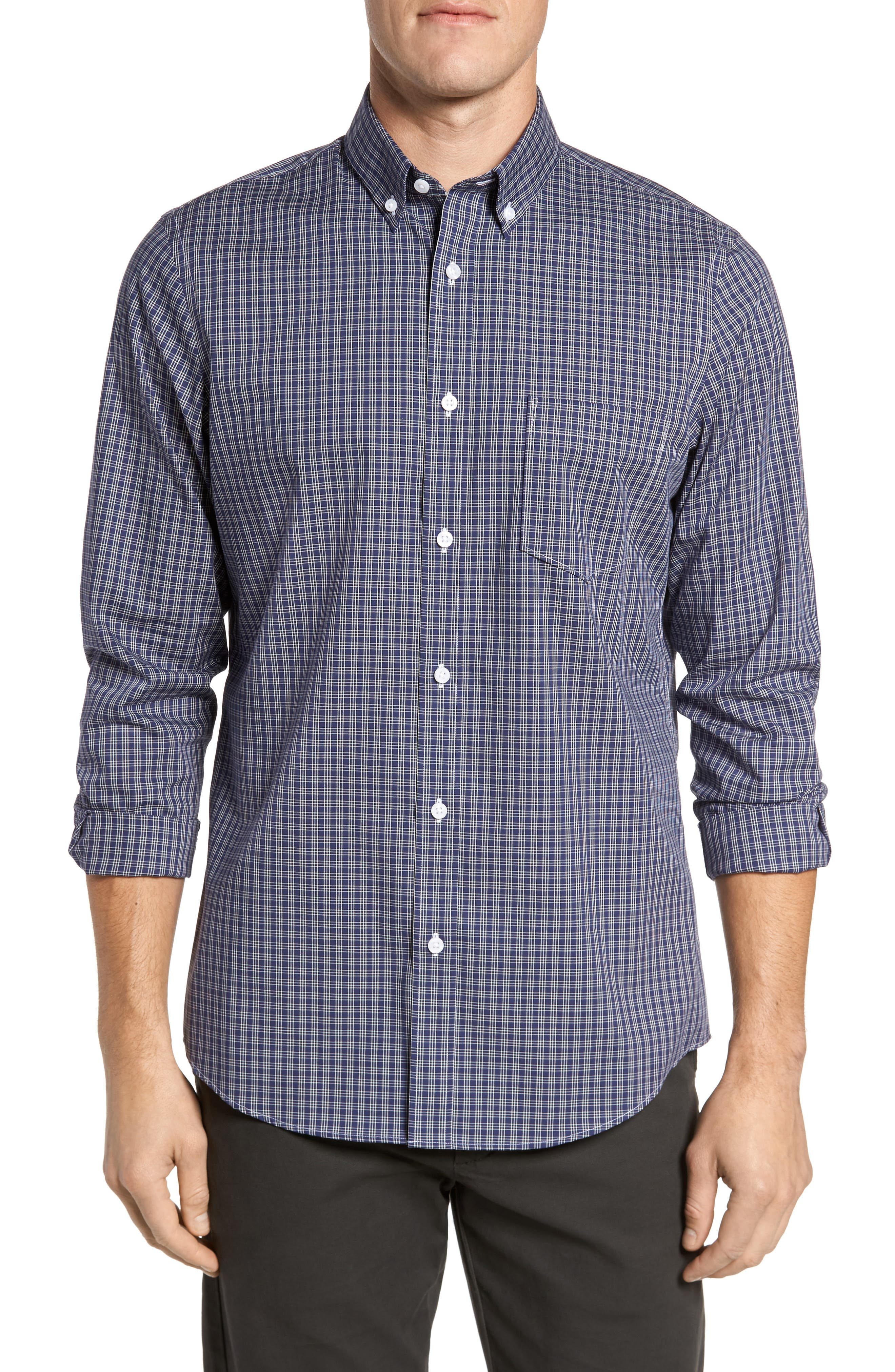 Regular Fit Non-Iron Mini Check Sport Shirt,                             Main thumbnail 1, color,                             410